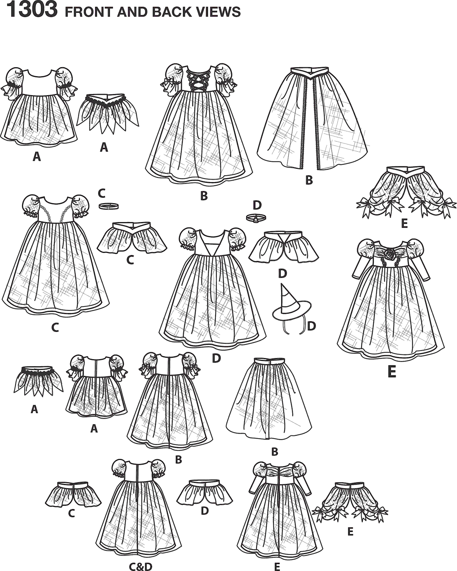 Simplicity Pattern 1303 Toddlers and Childs Costumes Line Art From Patternsandplains.com