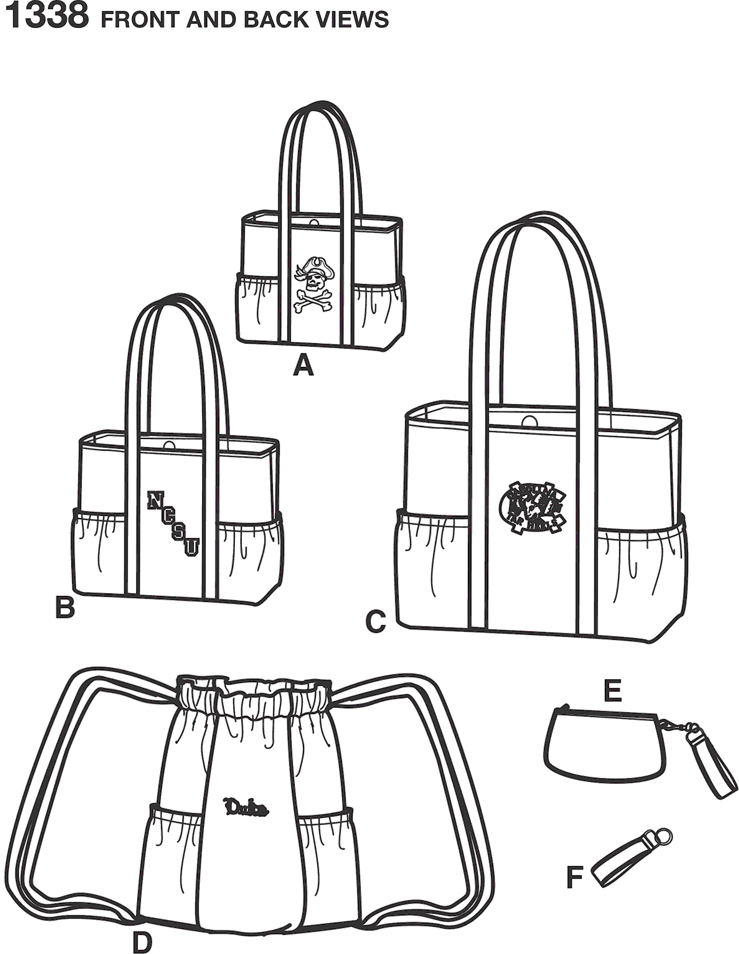 Simplicity Pattern 1338 Tote Bags in Three Sizes Backpack and Coin Purse Line Art From Patternsandplains.com