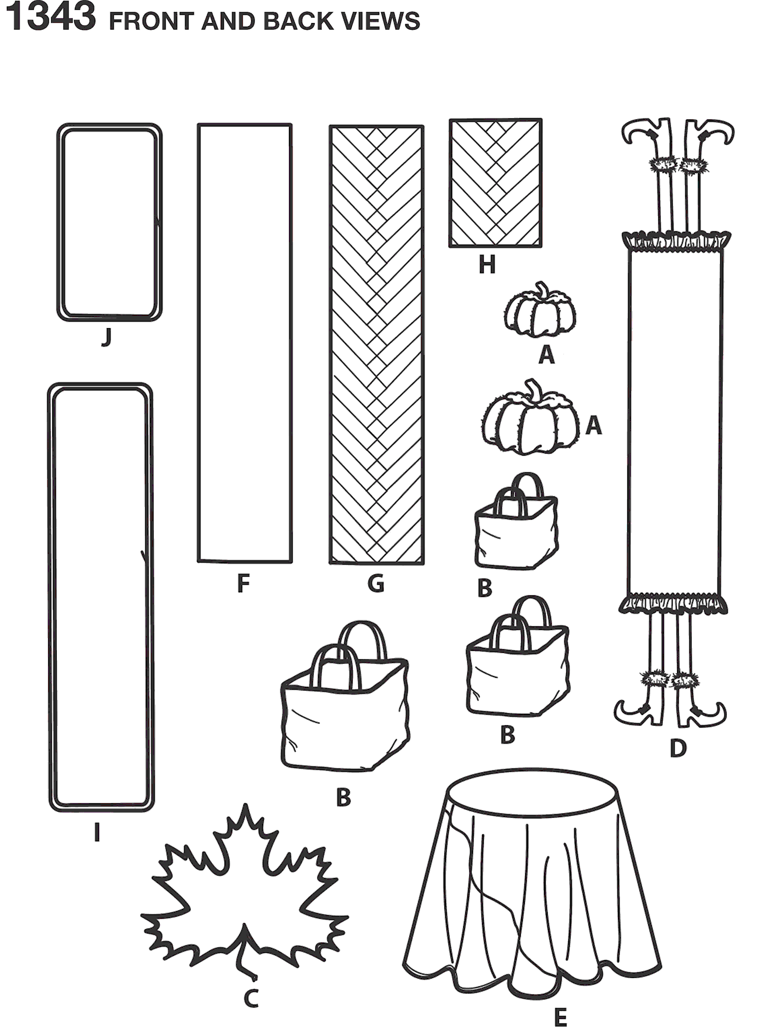 Simplicity Pattern 1343 Autumn Table Accessories Line Art From Patternsandplains.com