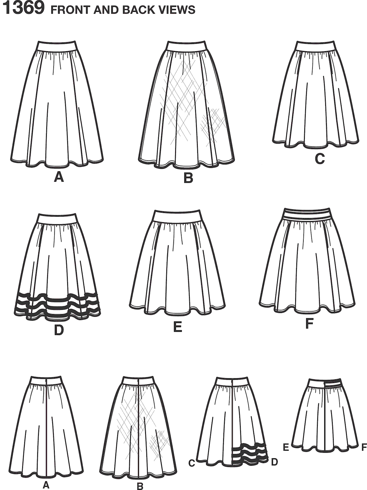 Simplicity Pattern 1369 Womens Skirts in Three Lengths Line Art From Patternsandplains.com