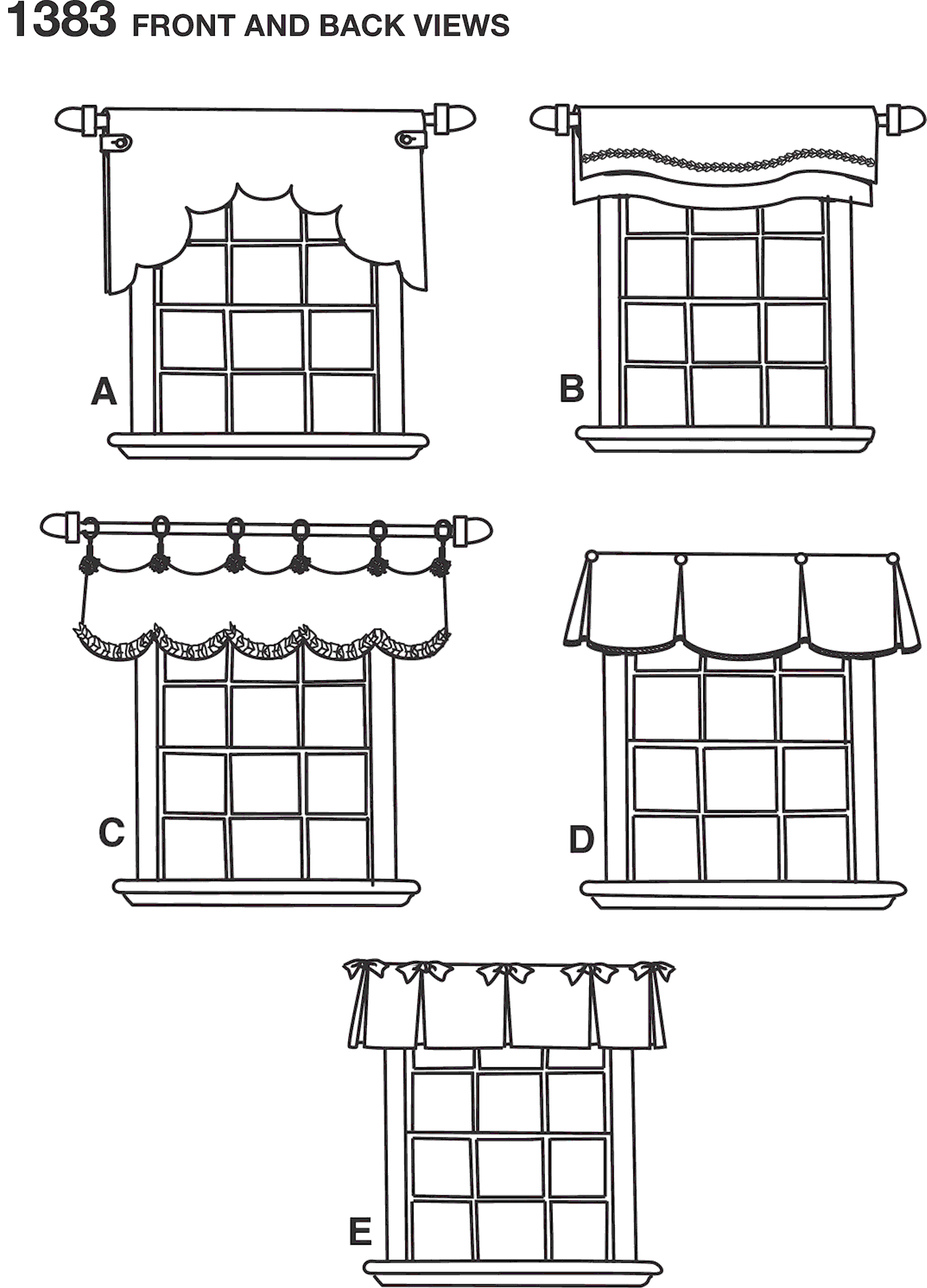 Simplicity Pattern 1383 Valances for 36 to 40 Wide Windows Line Art From Patternsandplains.com