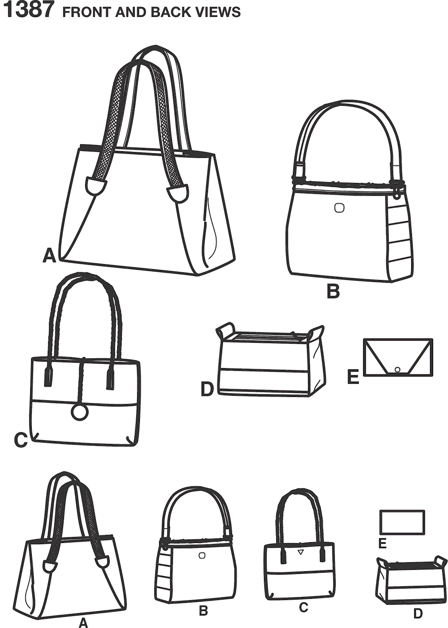 Simplicity Pattern 1387 Bags in Assorted Sizes Line Art From Patternsandplains.com