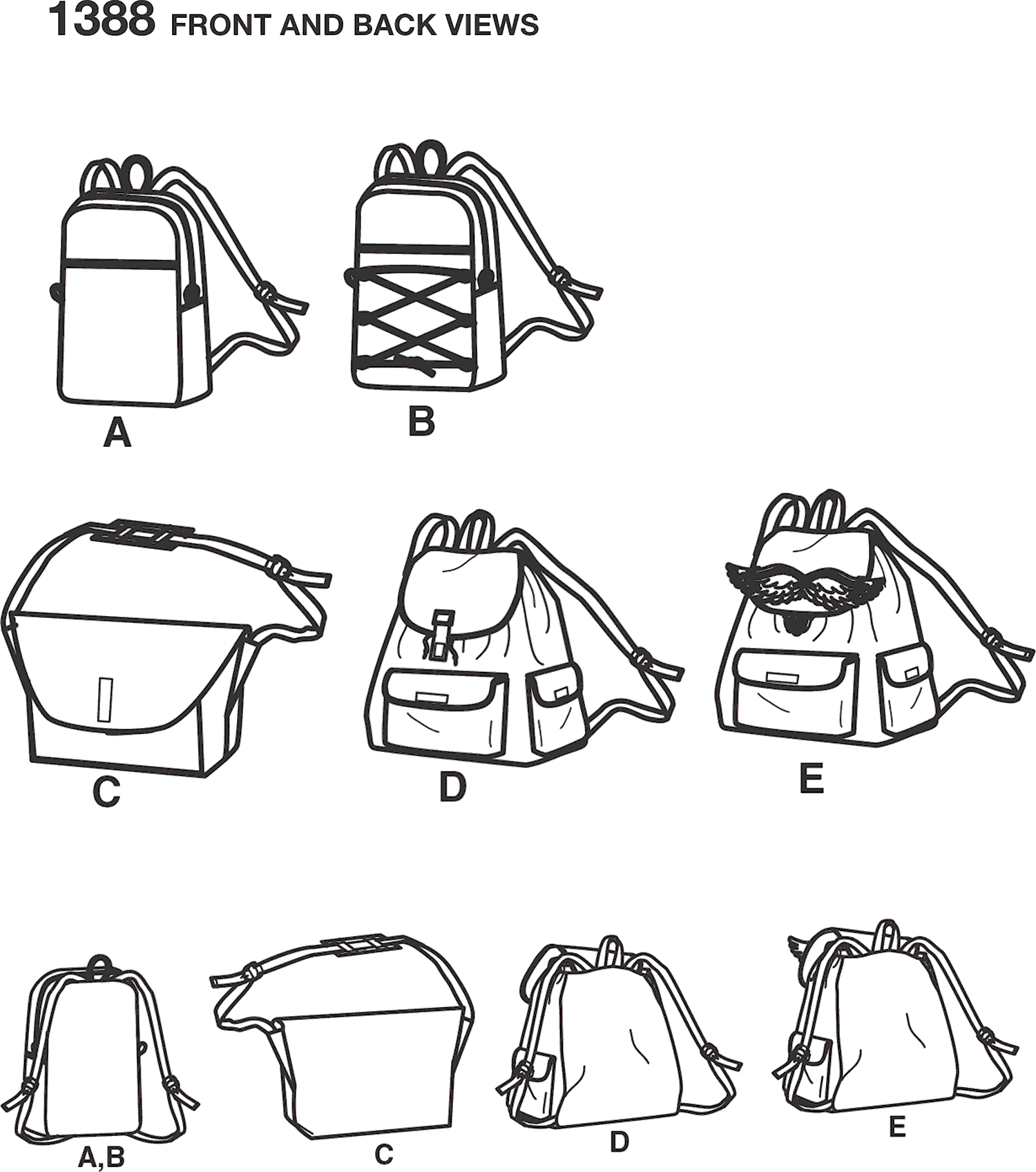 Simplicity Pattern 1388 Backpacks and Messenger Bag Line Art From Patternsandplains.com
