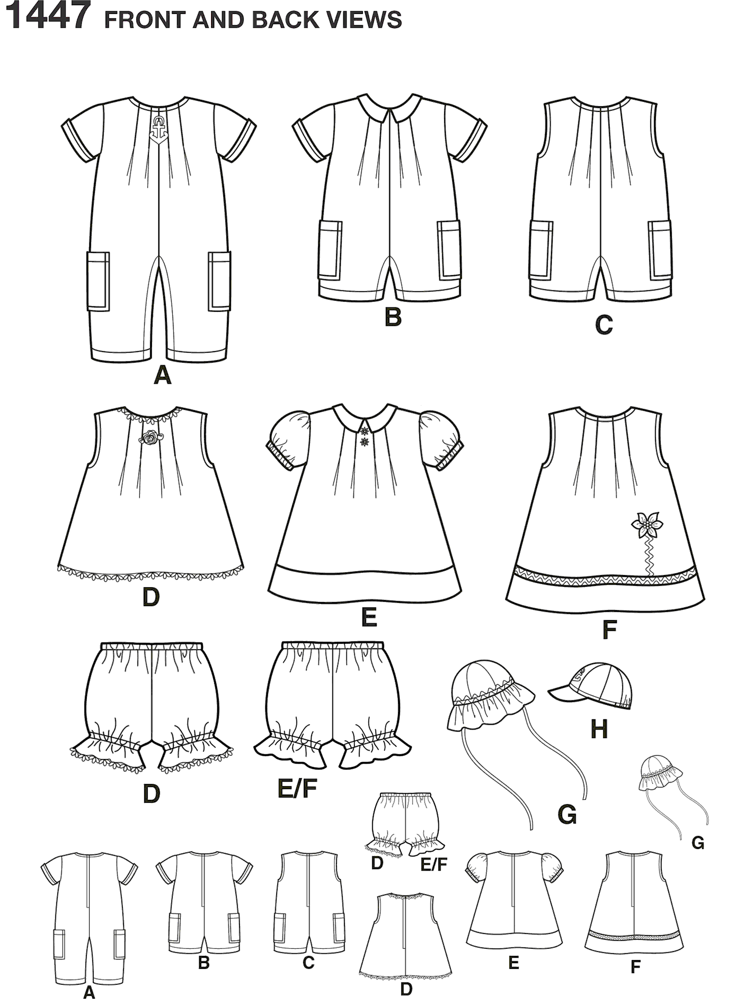 Simplicity Pattern 1447 Babies Romper Dress Top Panties and Hats Line Art From Patternsandplains.com