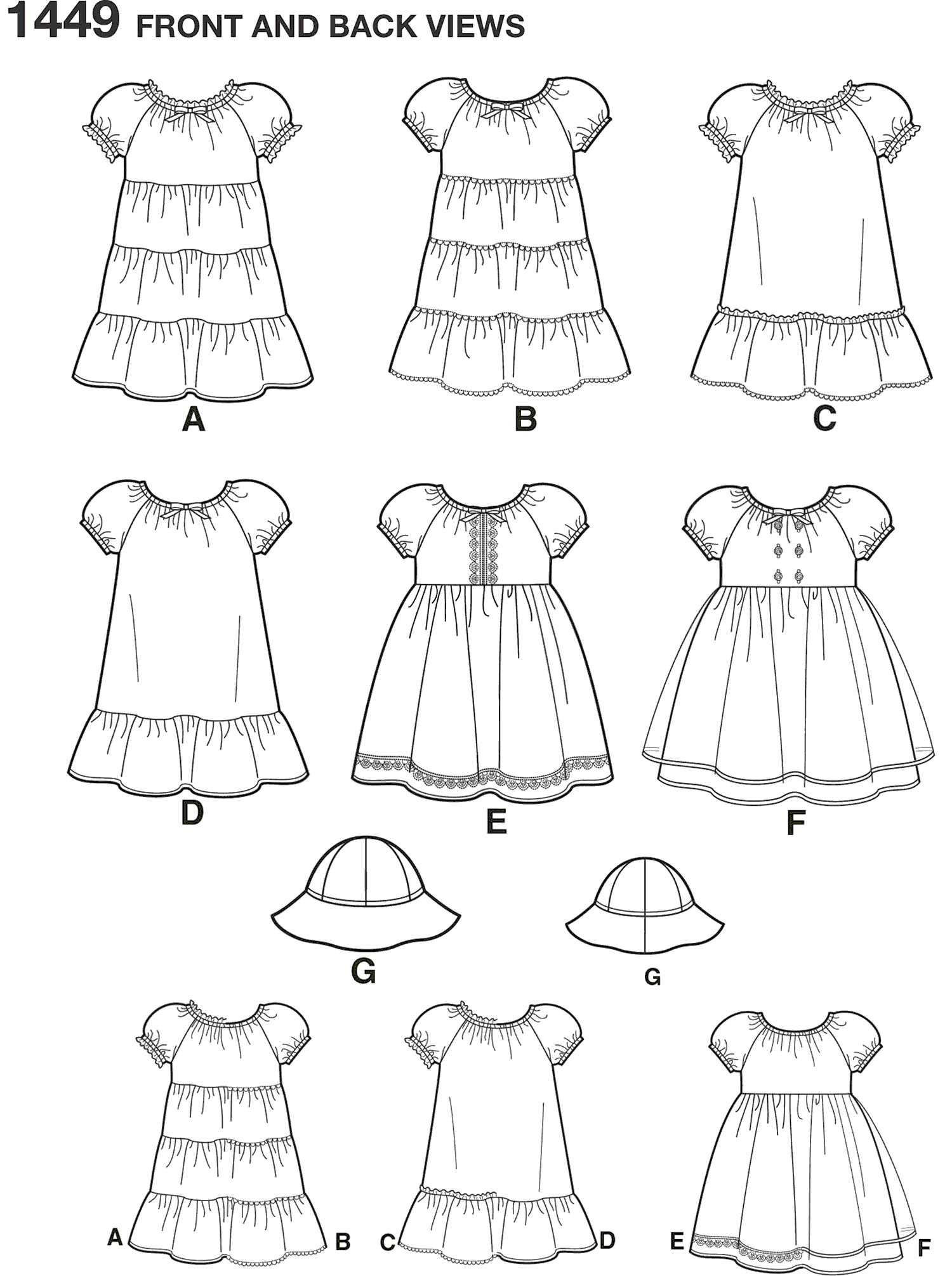 Simplicity Pattern 1449 Toddlers Dress and Hat in Three Sizes Line Art From Patternsandplains.com