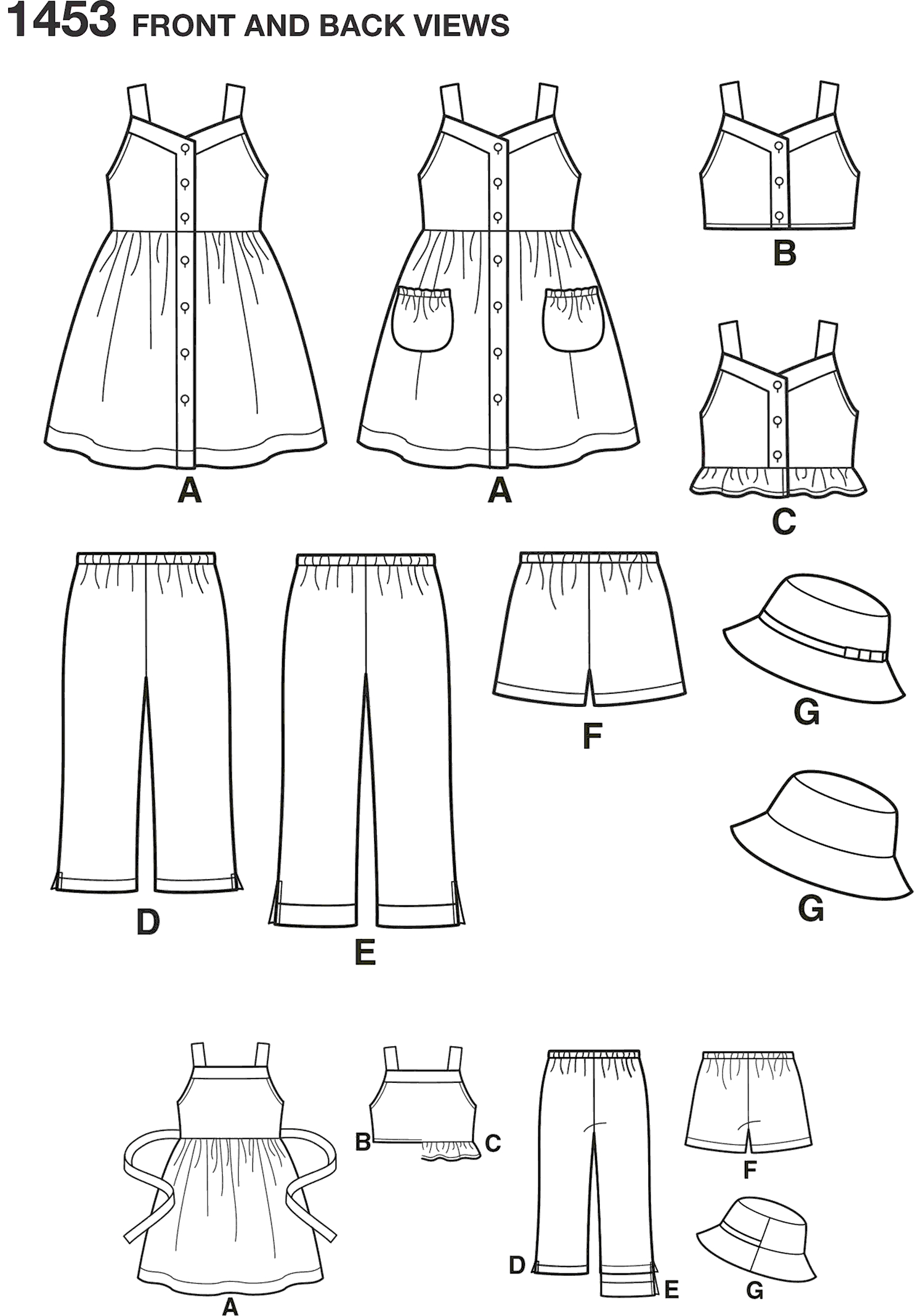 Simplicity Pattern 1453 Childs Dress Top Trousers or Shorts and Hat Line Art From Patternsandplains.com