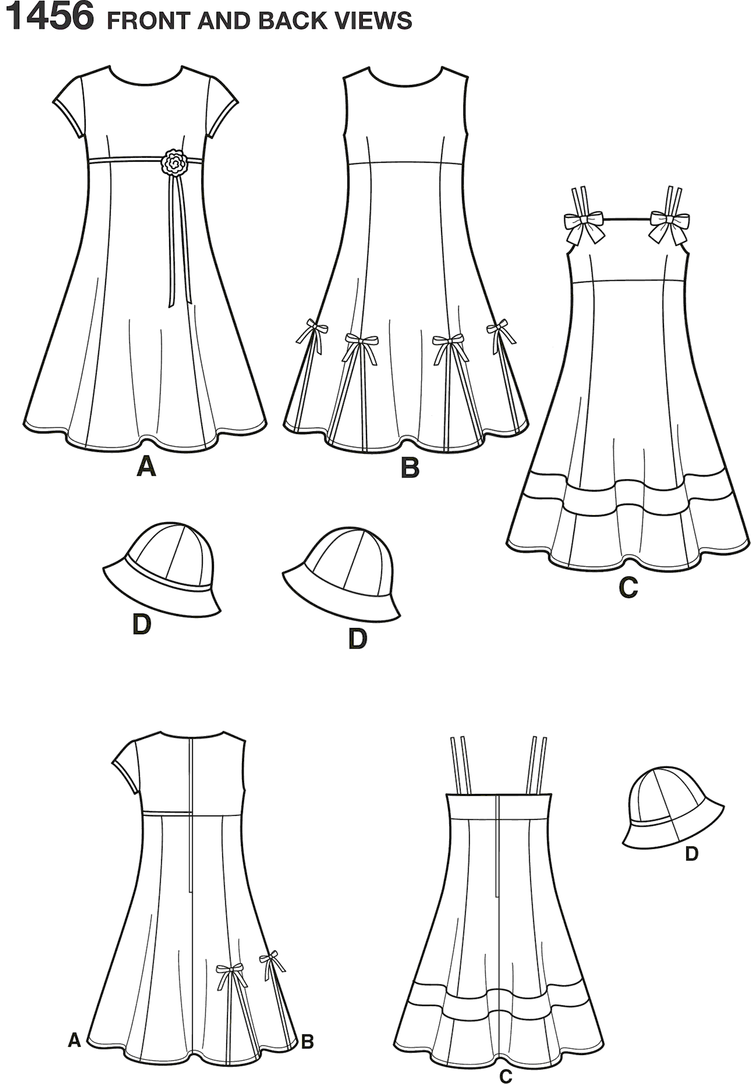 Simplicity Pattern 1456 Childs and Girls Dress with Bodice Variations and Hat Line Art From Patternsandplains.com