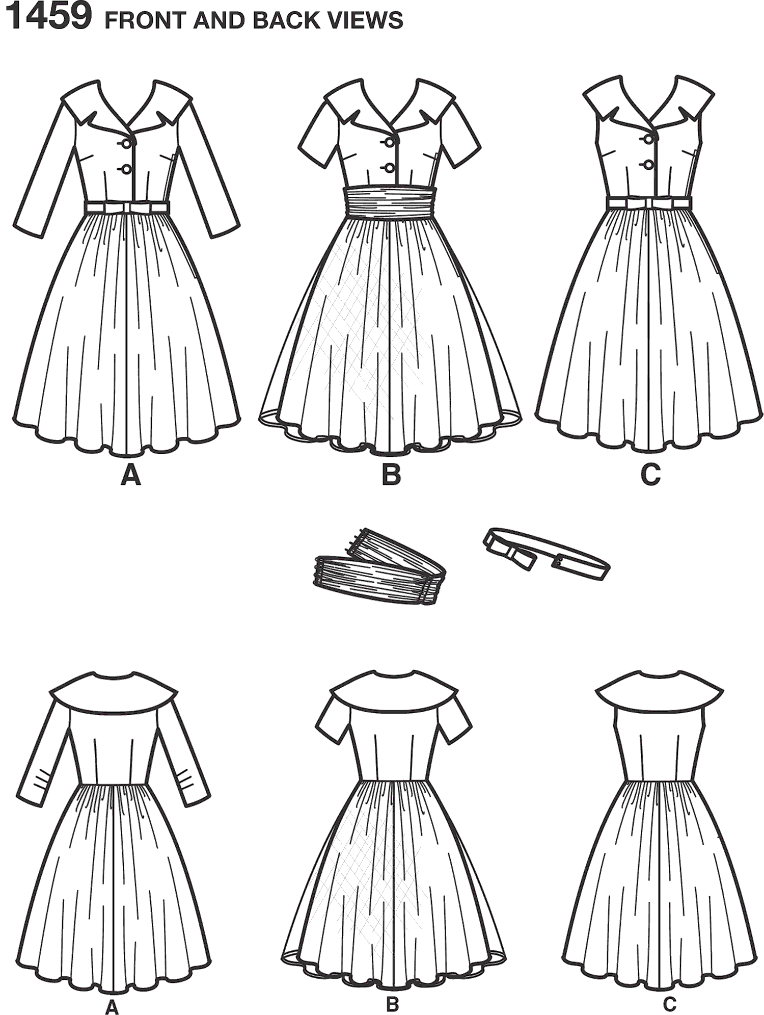 Simplicity Pattern 1459 Womens and Petite 1950s Vintage Dress Line Art From Patternsandplains.com