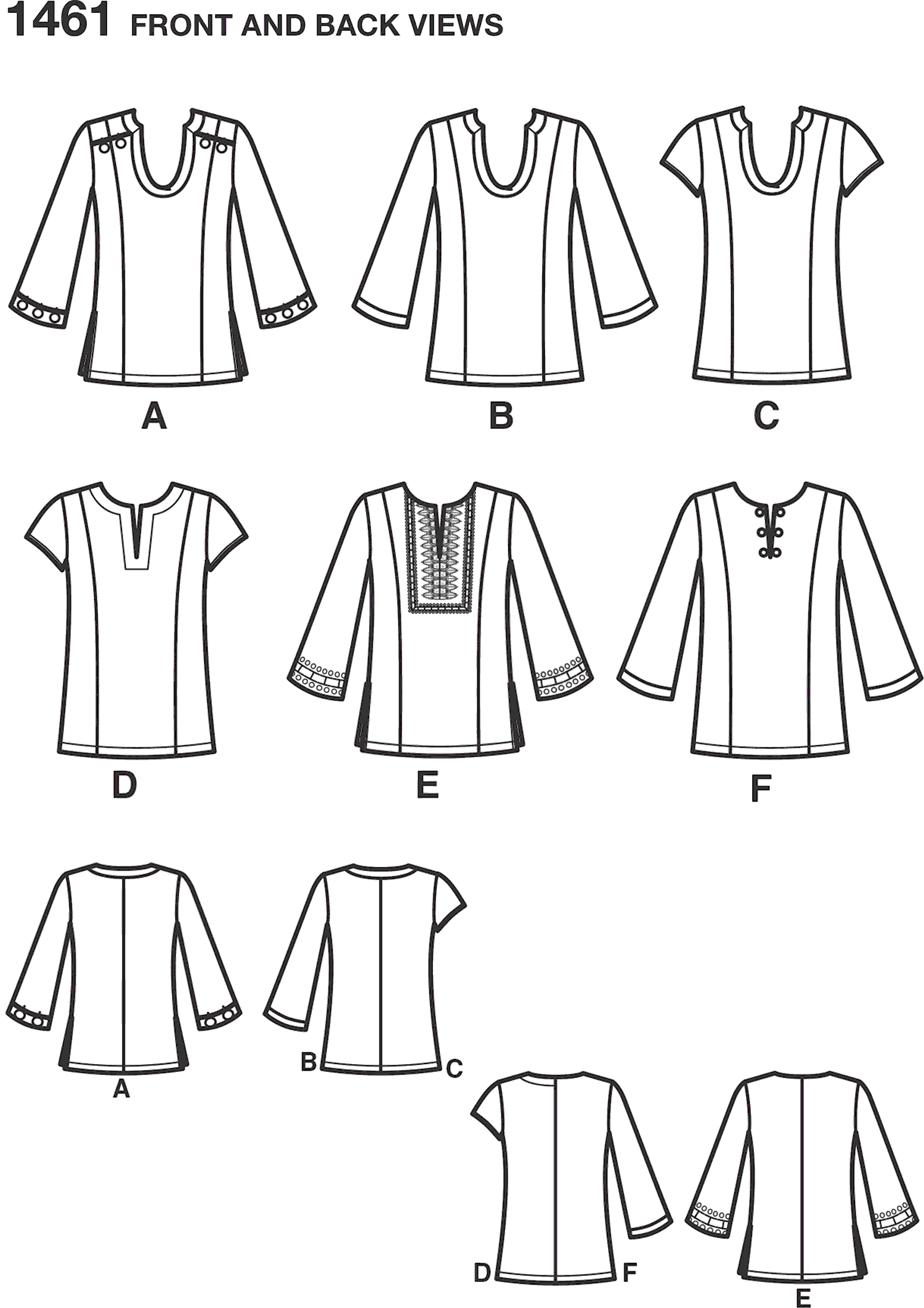 Simplicity Pattern 1461 Womens and Plus Tunic with Neckline and Sleeve Variations Line Art From Patternsandplains.com