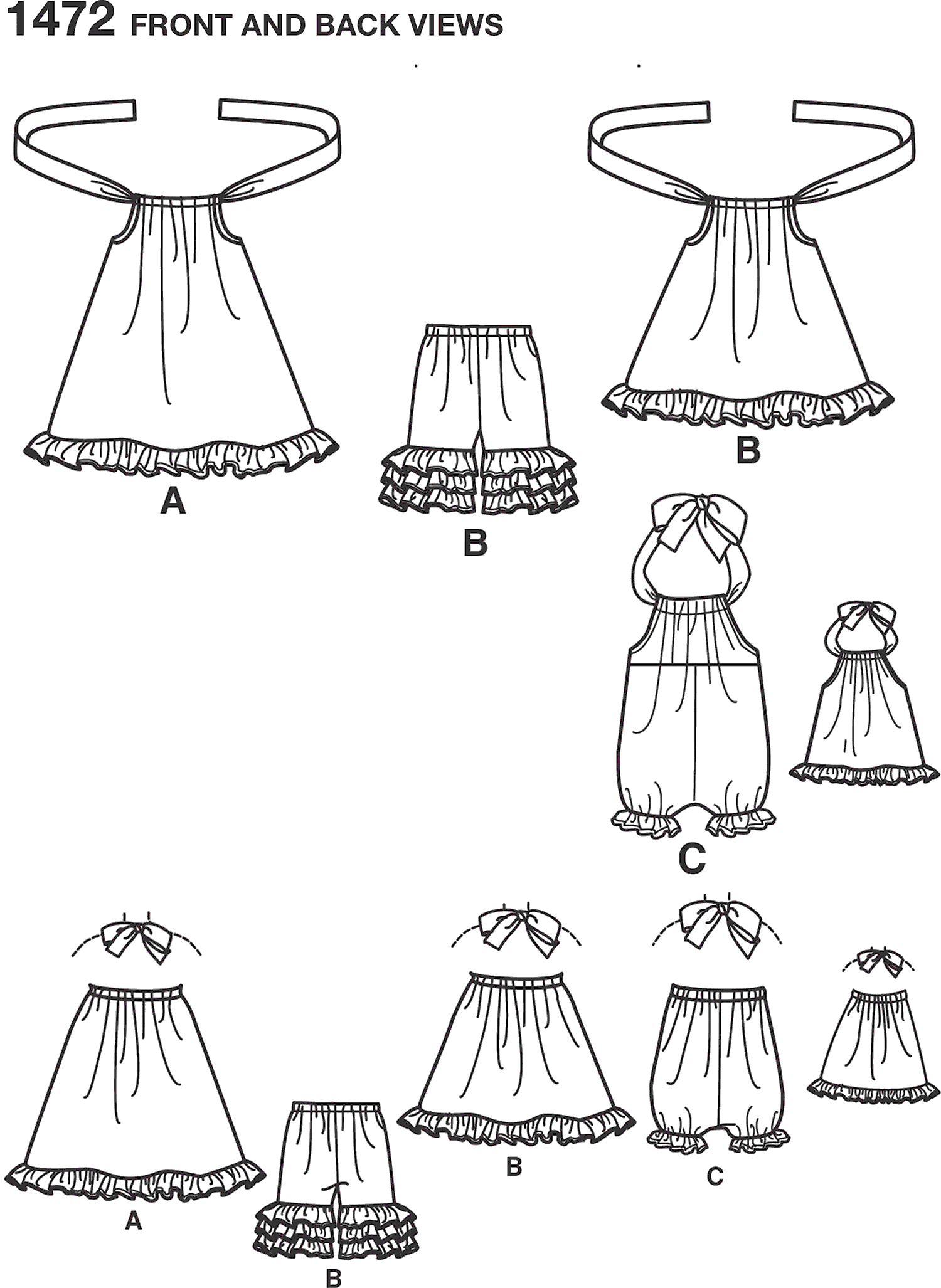 Simplicity Pattern 1472 Toddlers Romper Dress Top Trousers and 18 Doll Dress Line Art From Patternsandplains.com