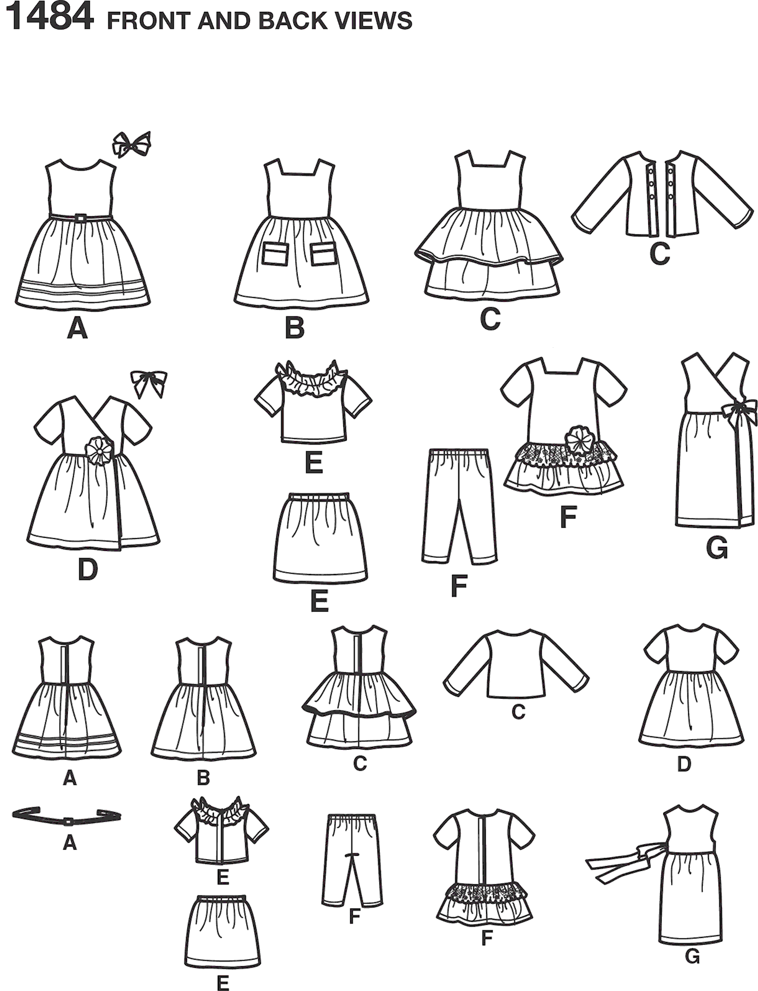 Simplicity Pattern 1484 18 Doll Clothes Line Art From Patternsandplains.com