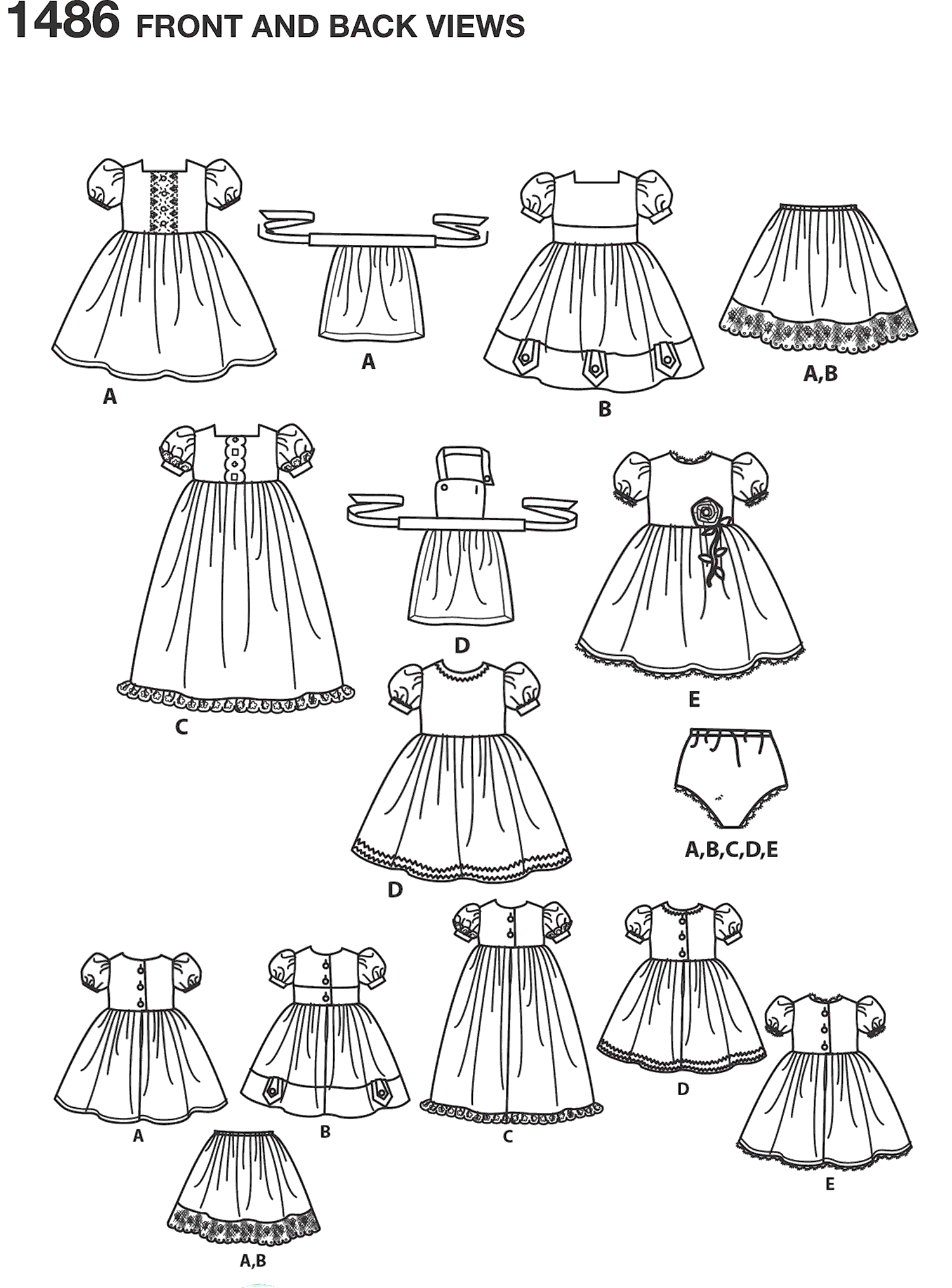 Simplicity Pattern 1486 Vintage Style 18 Doll Clothes Line Art From Patternsandplains.com