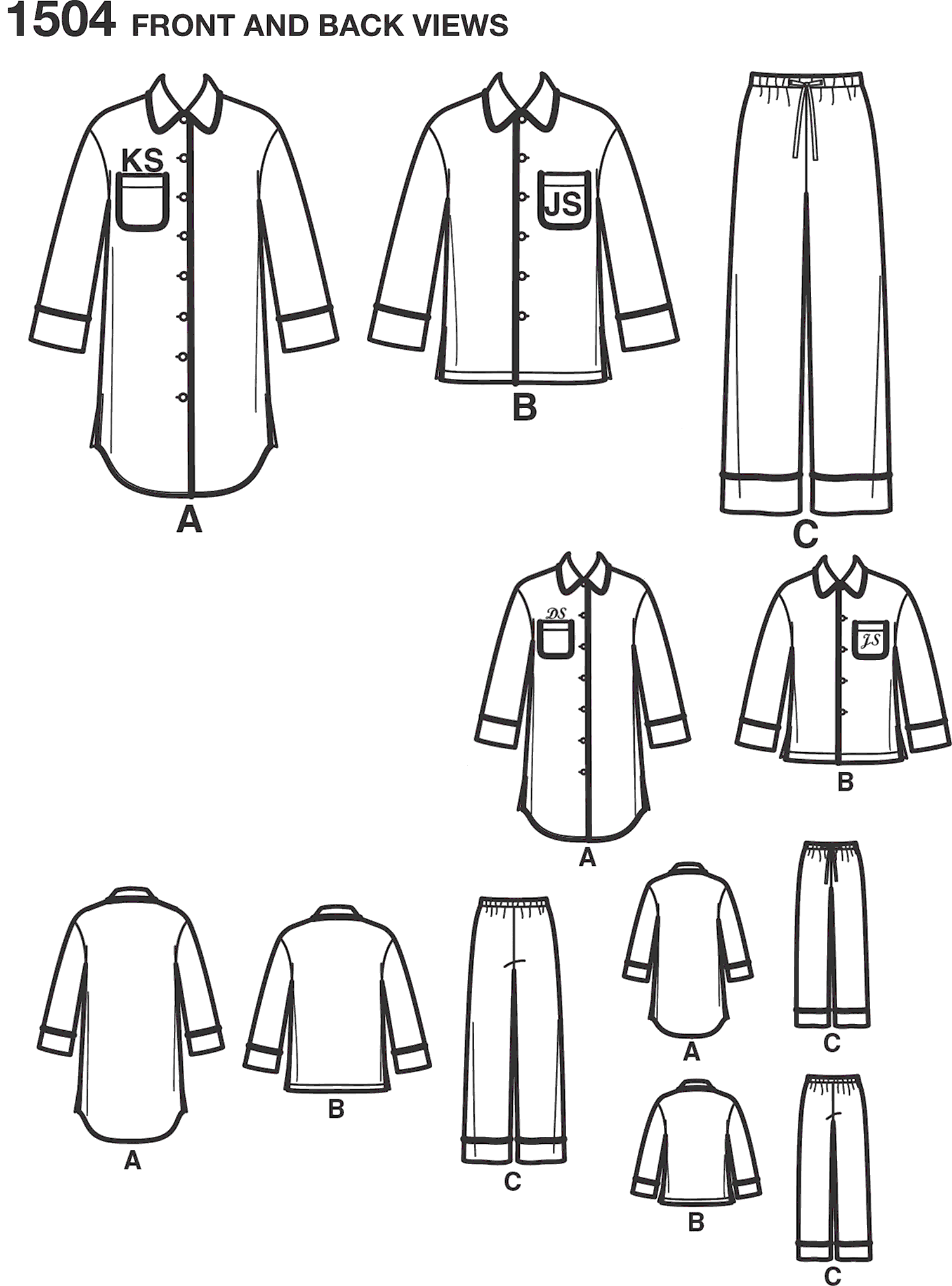 Simplicity Pattern 1504 Childs Teens and Adults Loungewear Line Art From Patternsandplains.com