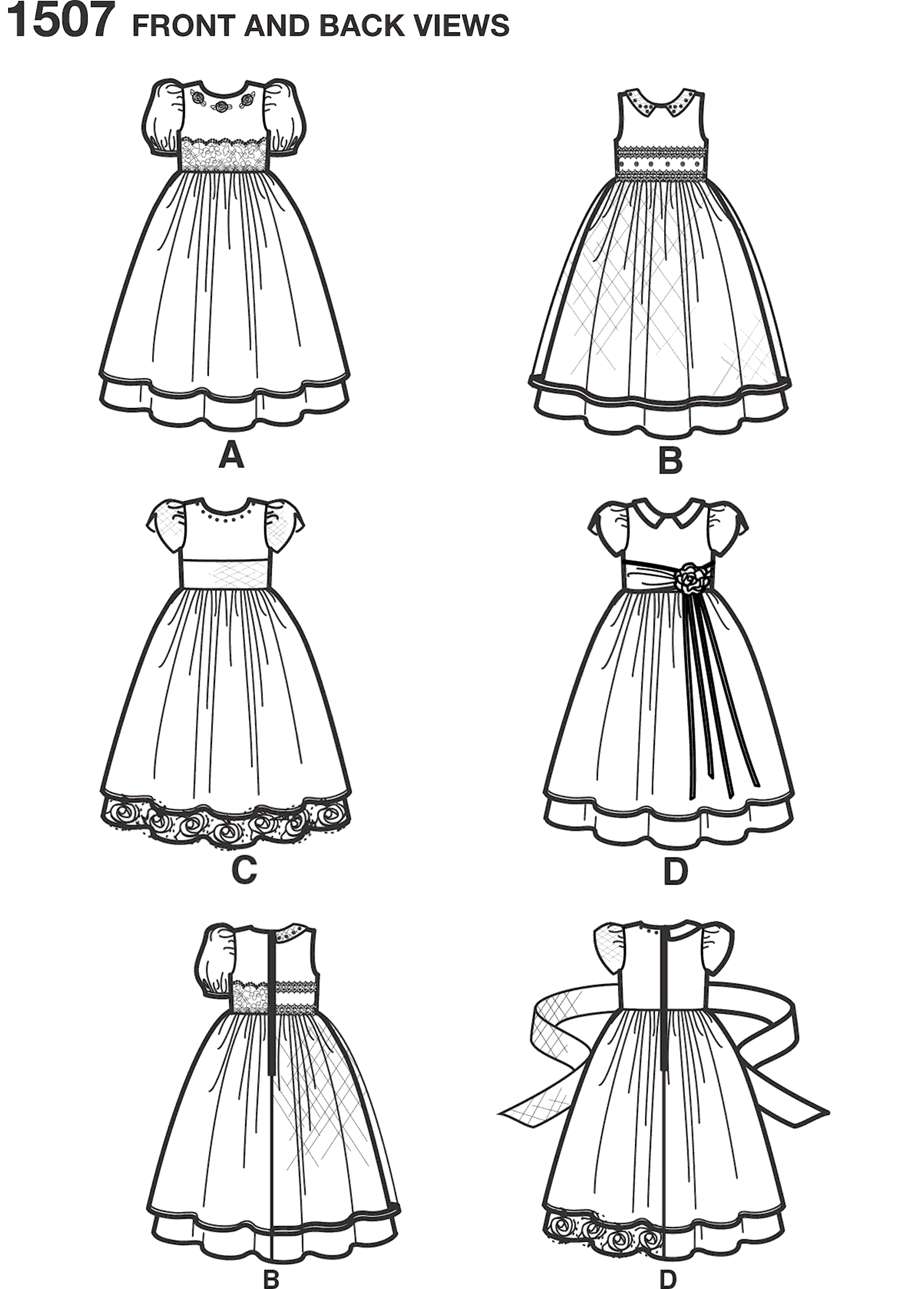Simplicity Pattern 1507 Toddlers and Childs Special Occasion Dress Line Art From Patternsandplains.com
