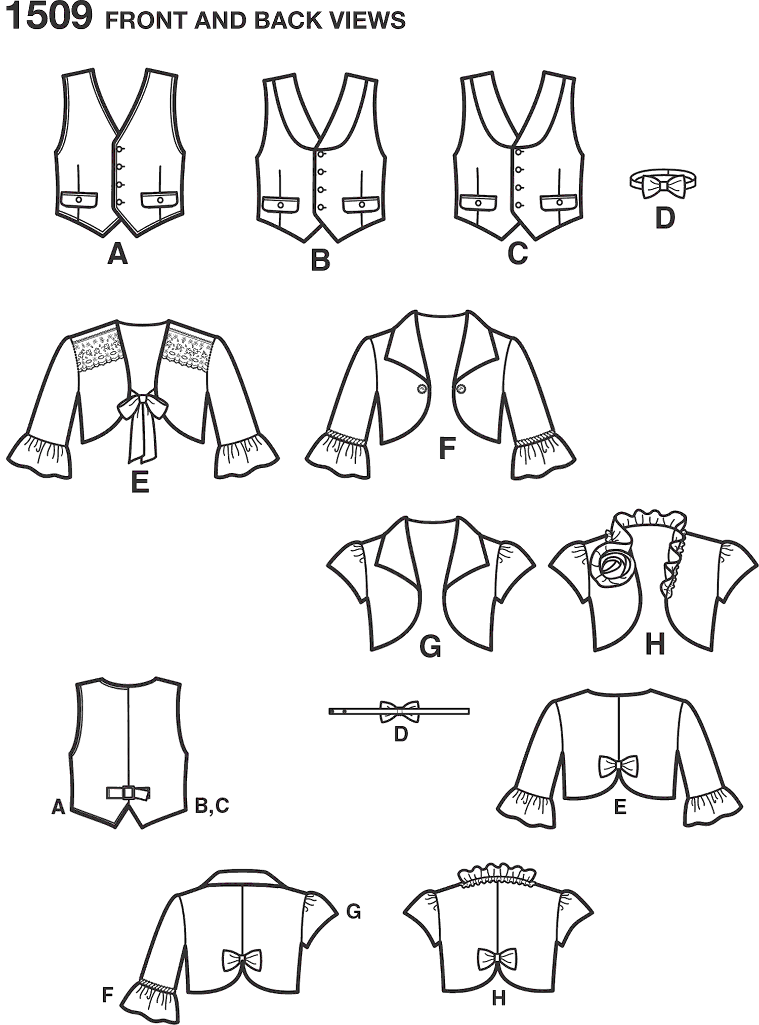 Simplicity Pattern 1509 Childs Vest Bolero and Bow Tie Line Art From Patternsandplains.com