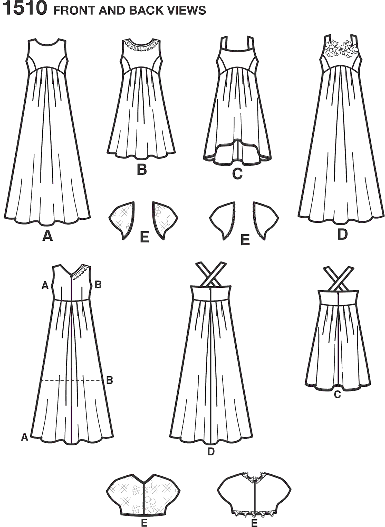 Simplicity Pattern 1510 Girls and Girls Plus Special Occasion Dress Line Art From Patternsandplains.com