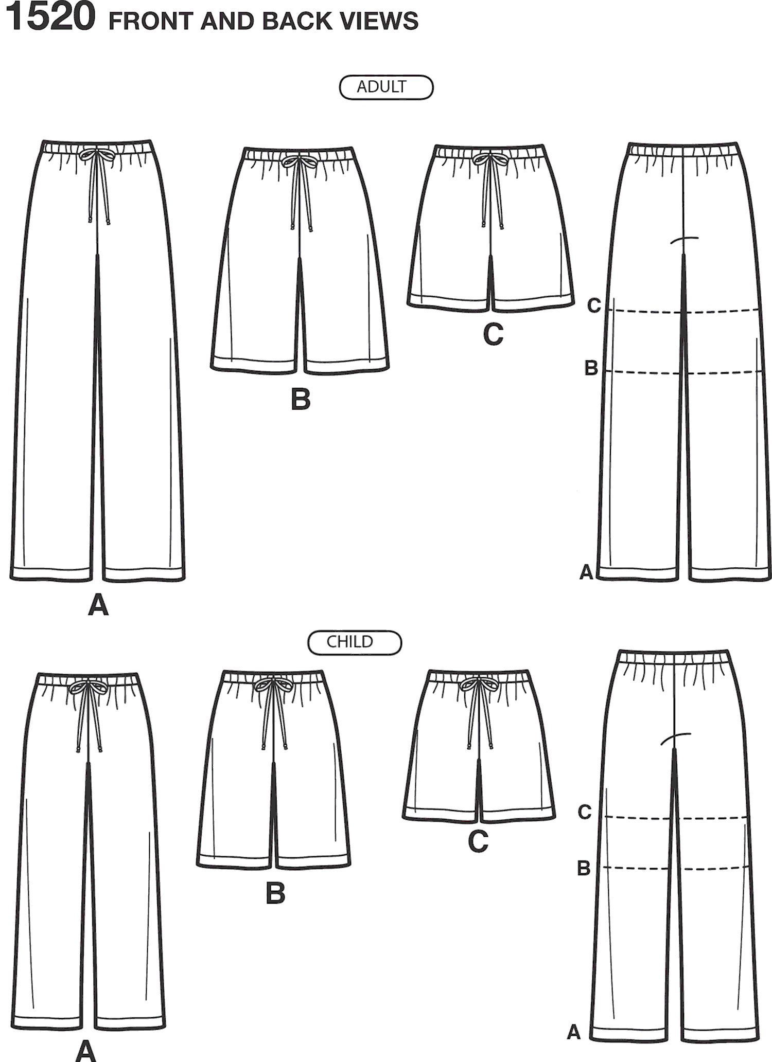 Simplicity Pattern 1520 Childs Teens and Adults Trousers and Shorts Line Art From Patternsandplains.com