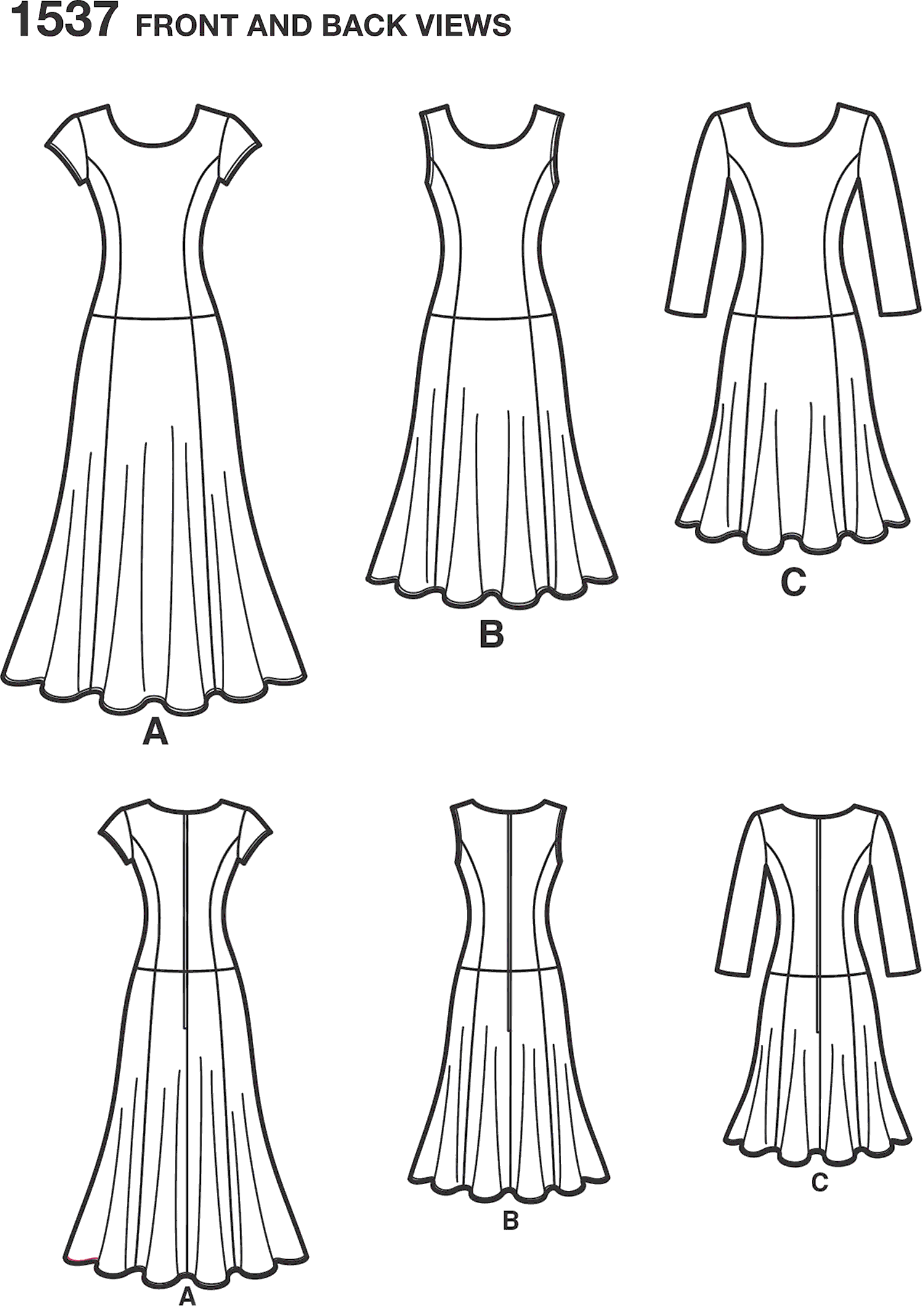 Simplicity Pattern 1537 Womens and Plus Size Amazing Fit Dress Line Art From Patternsandplains.com