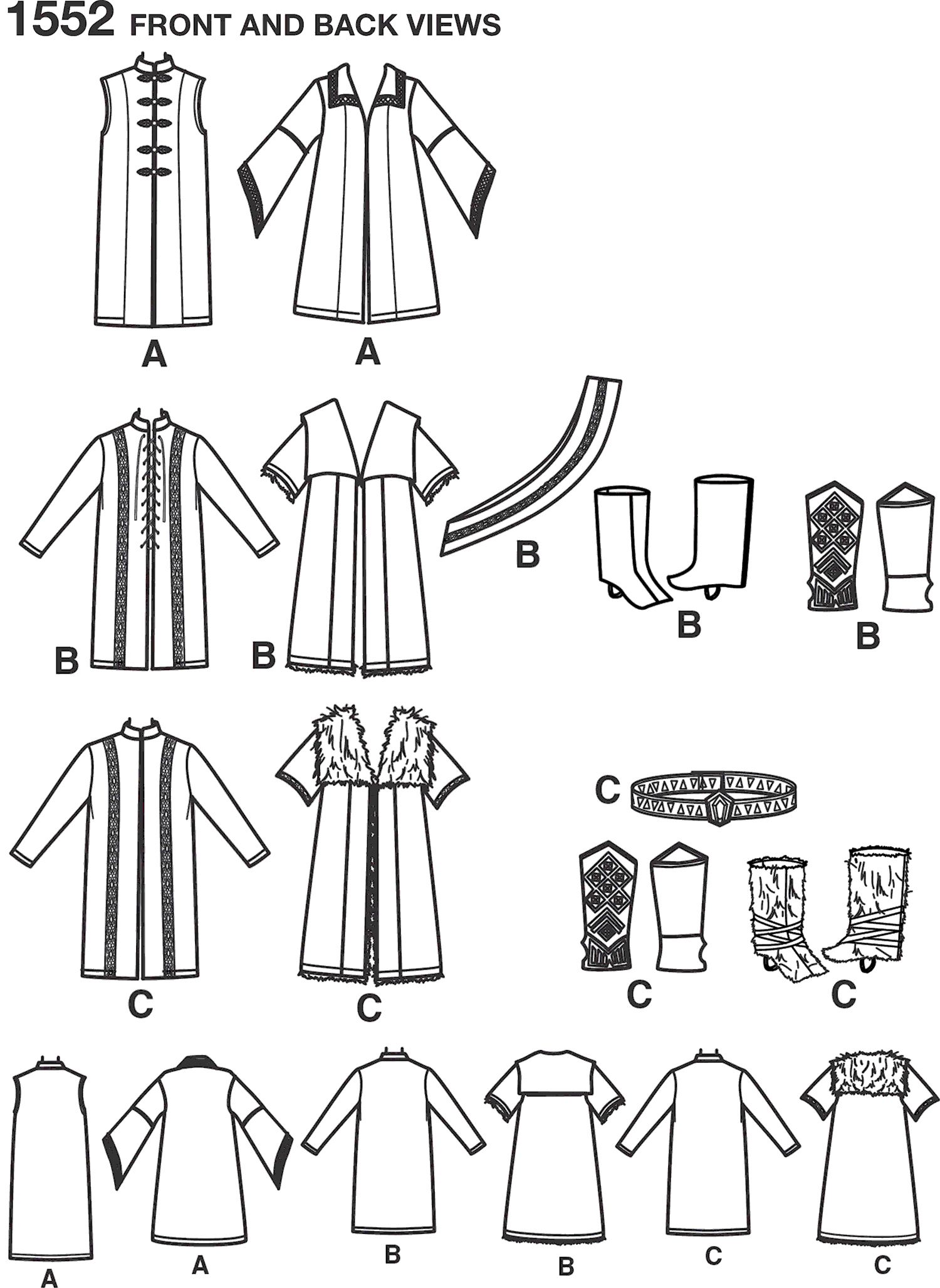 Simplicity Pattern 1552 Mens Medieval Tunic Cloak and Accessories Line Art From Patternsandplains.com