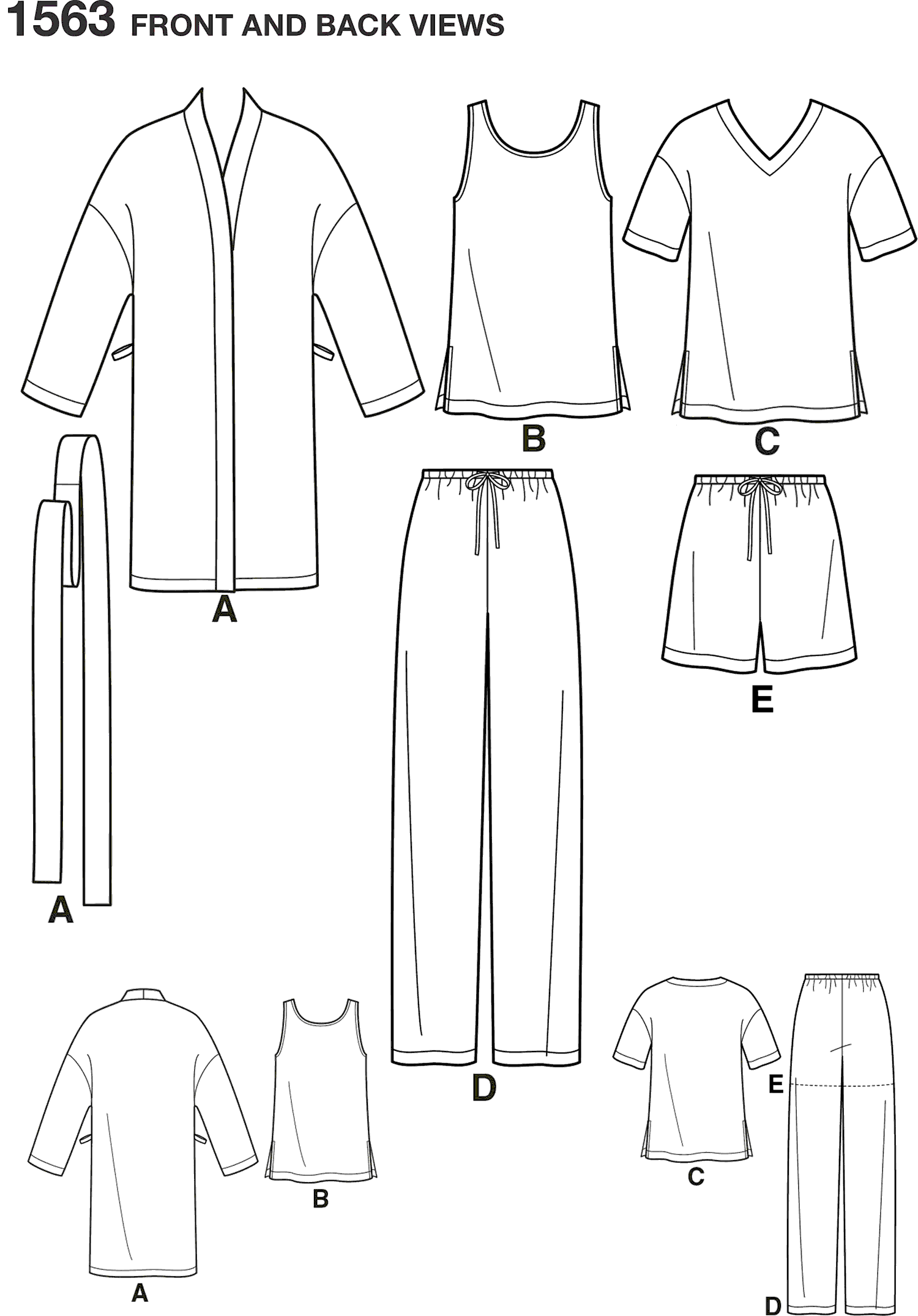 Simplicity Pattern 1563 Womens Mens and Teens Sleepwear Line Art From Patternsandplains.com