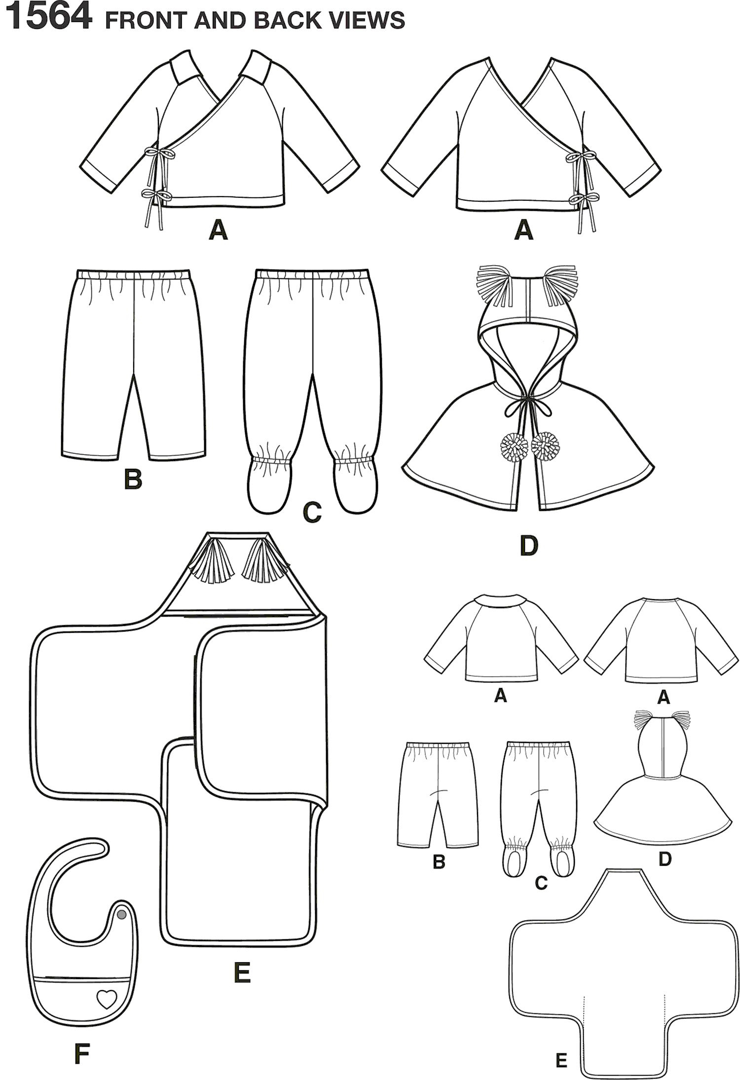 Simplicity Pattern 1564 Babies Top Trousers Bib and Blanket Wrap Line Art From Patternsandplains.com