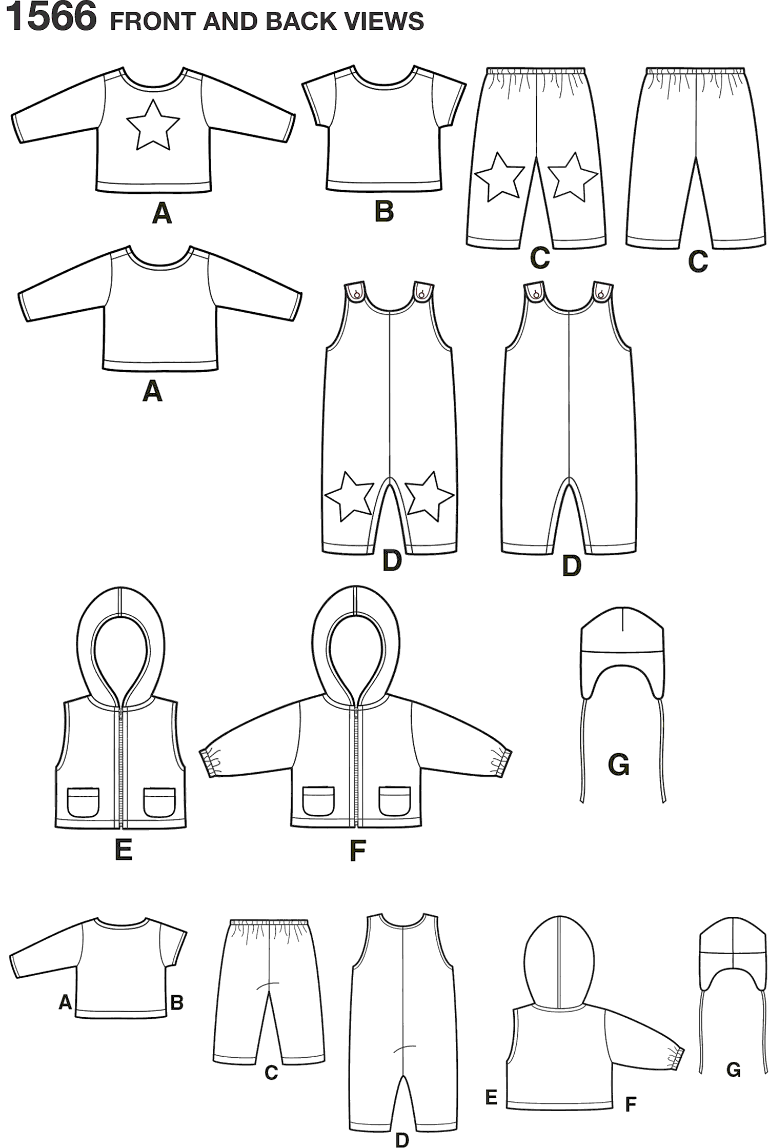 Simplicity Pattern 1566 Babies Separates Line Art From Patternsandplains.com