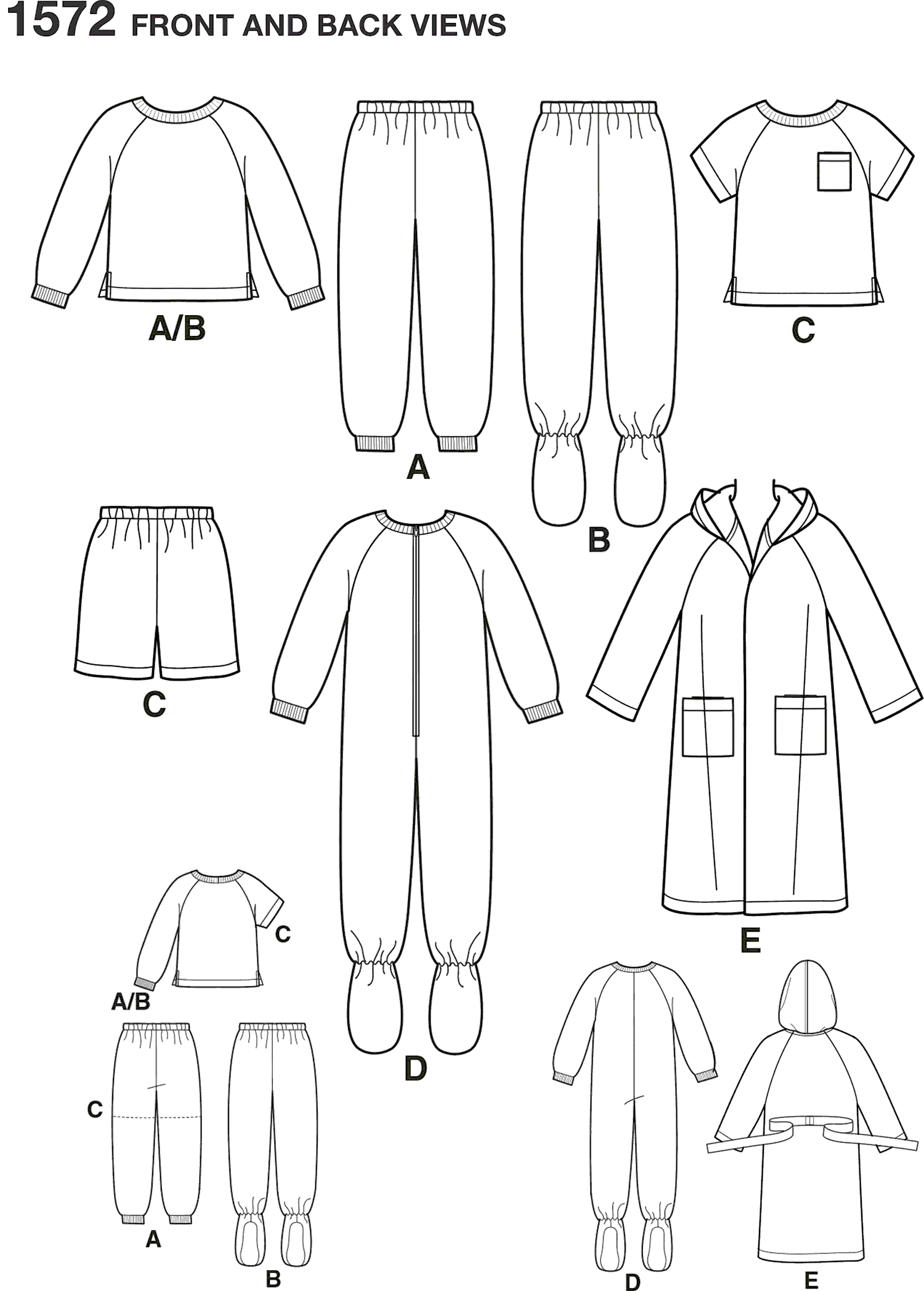 Simplicity Pattern 1572 Toddlers and Childs Sleepwear and Robe Line Art From Patternsandplains.com