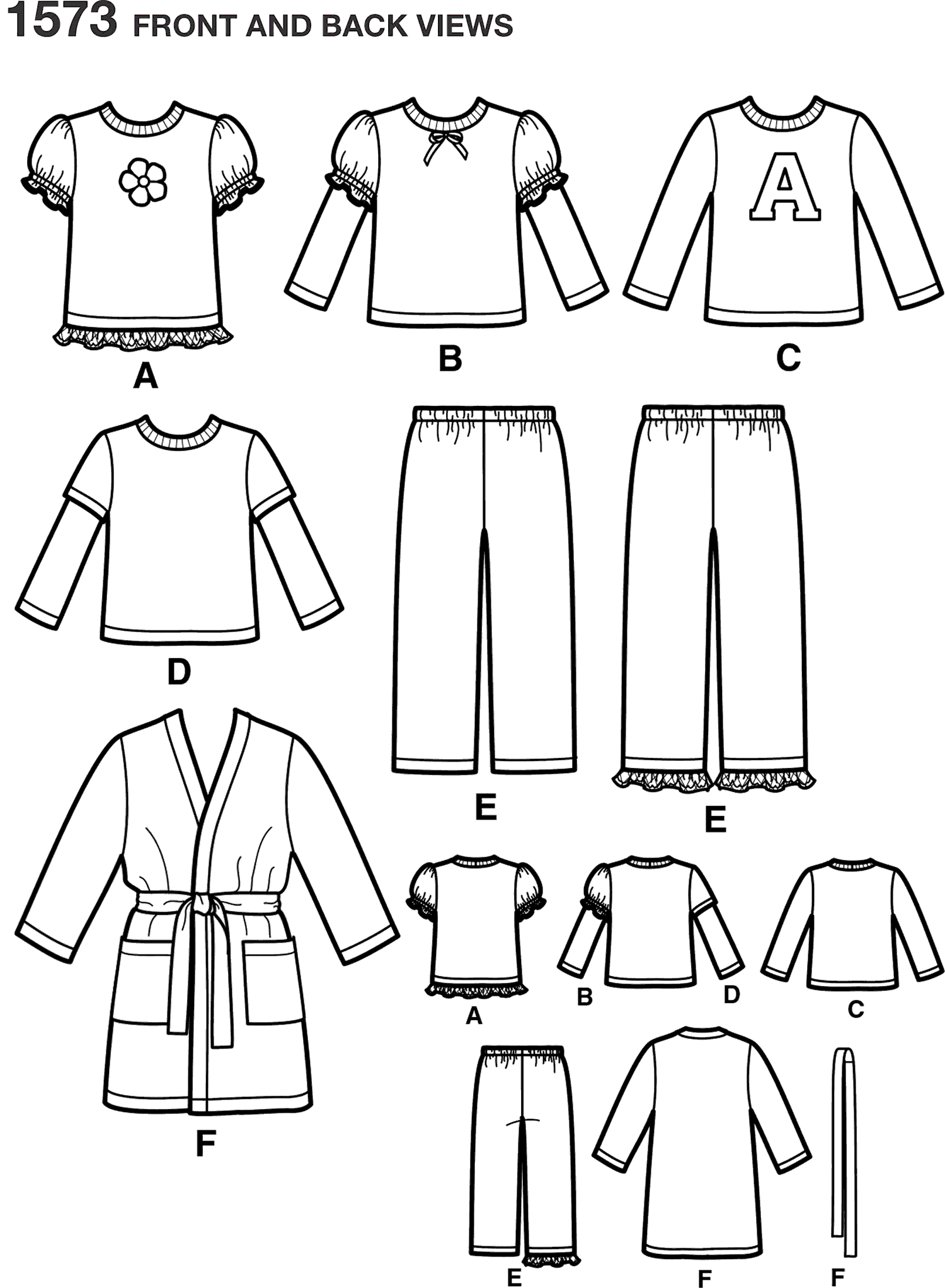 Simplicity Pattern 1573 Toddlers and Childs Loungewear Line Art From Patternsandplains.com