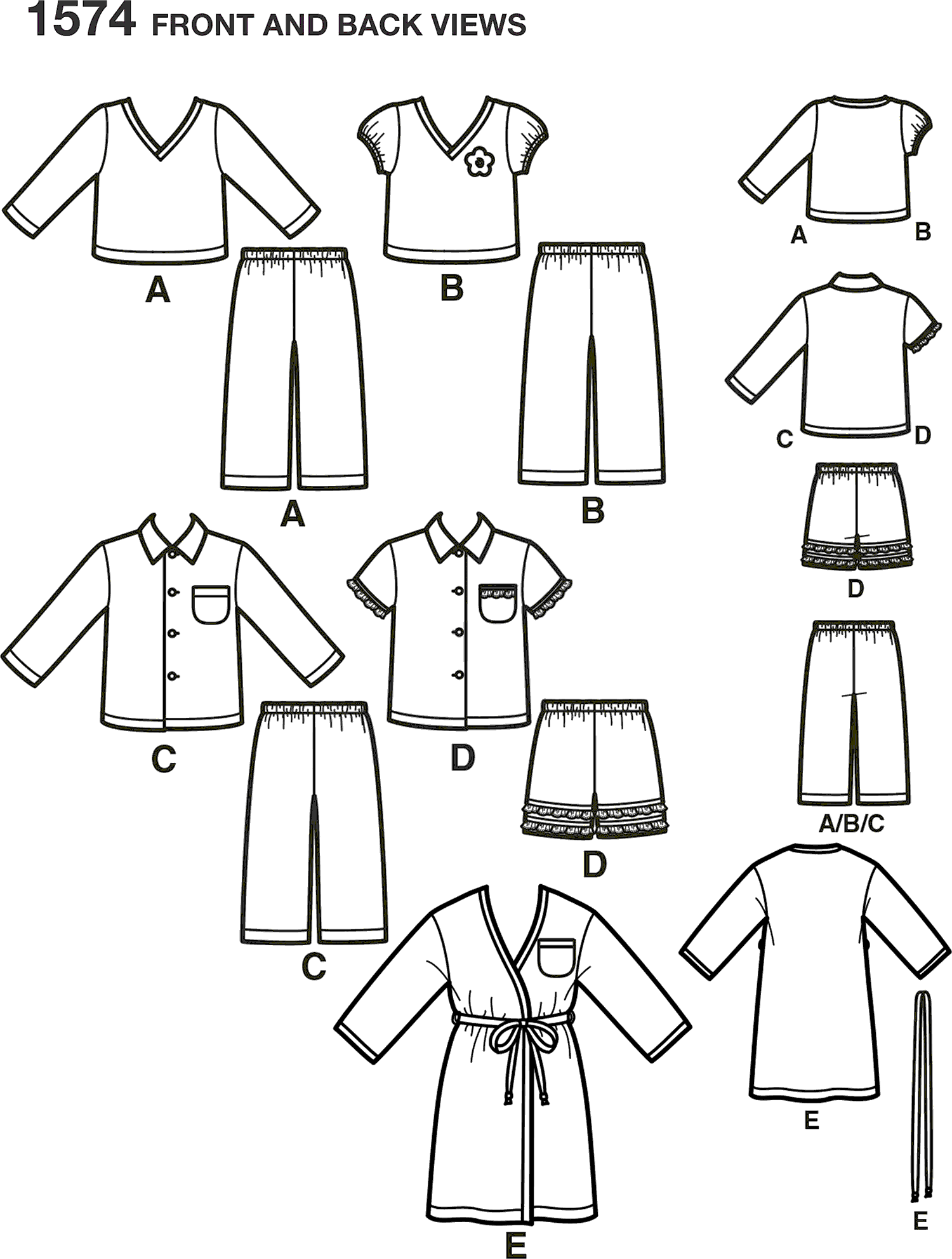 Simplicity Pattern 1574 Toddlers Loungewear Line Art From Patternsandplains.com