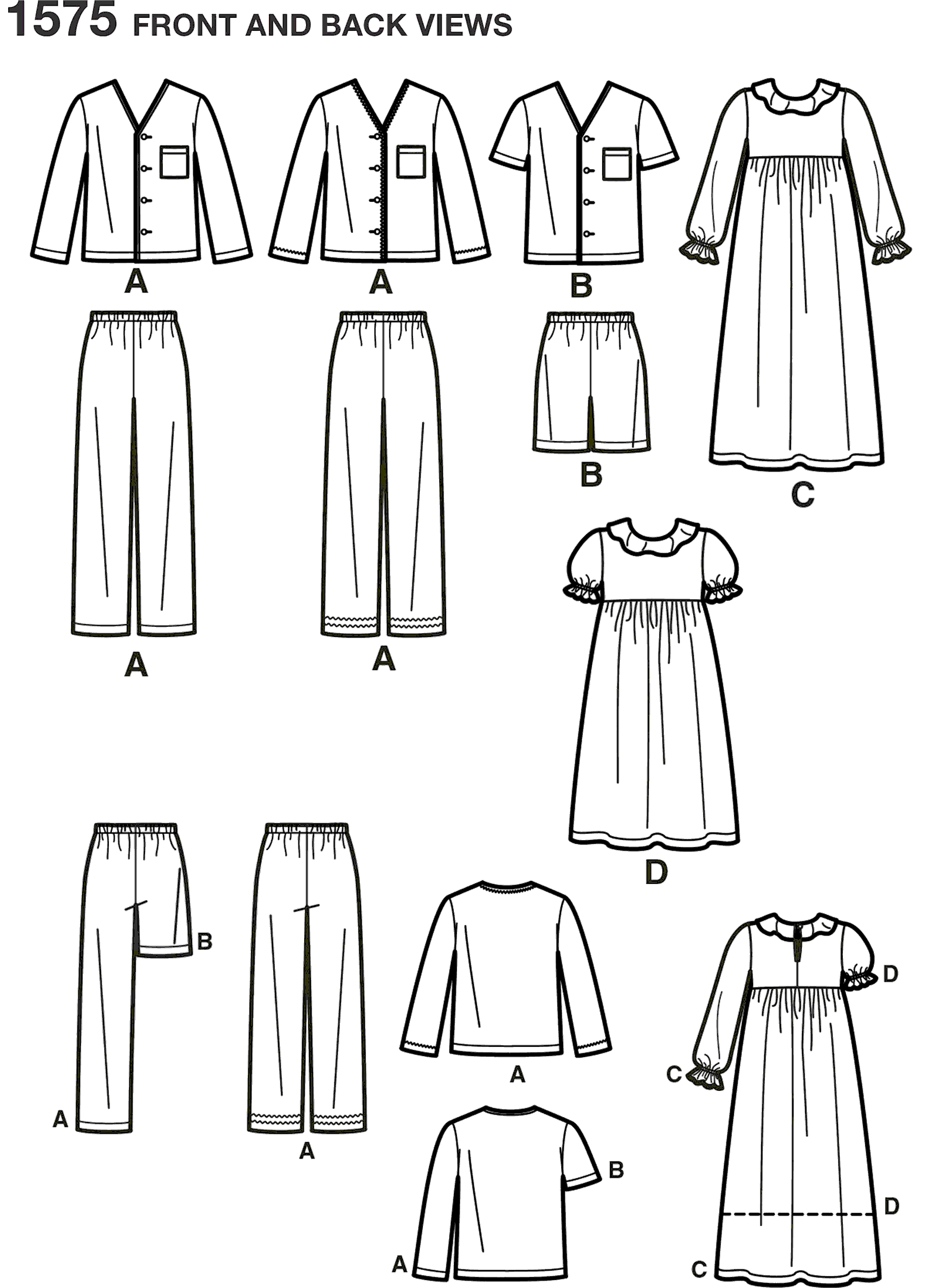 Simplicity Pattern 1575 Childs Girls and Boys Loungewear Line Art From Patternsandplains.com