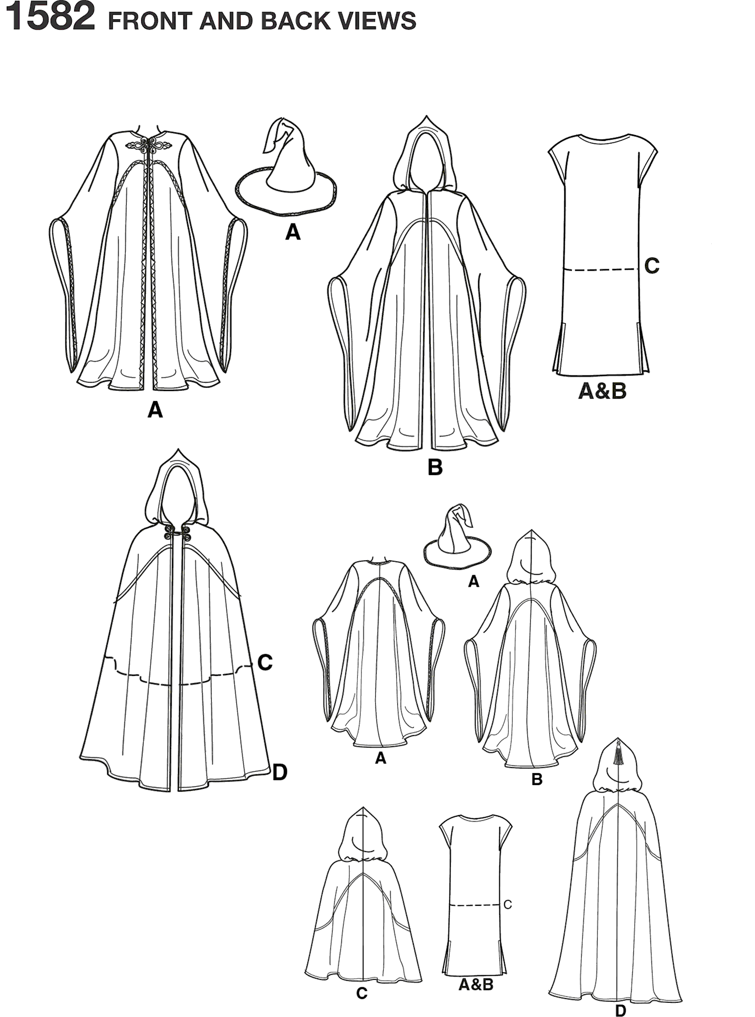 Simplicity Pattern 1582 Womens Men and Teen Costumes Line Art From Patternsandplains.com