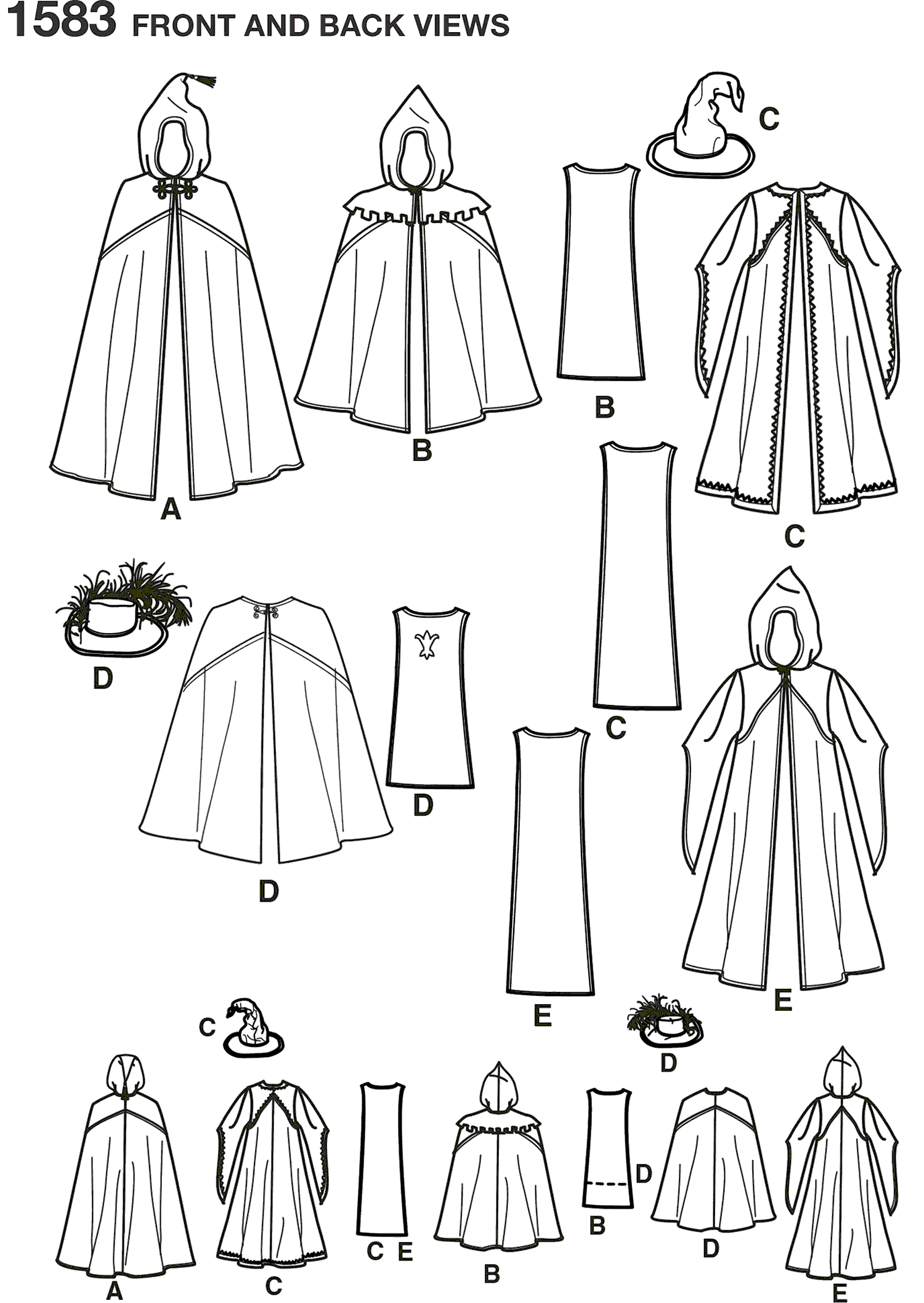Simplicity Pattern 1583 Childs Caped Costume Line Art From Patternsandplains.com