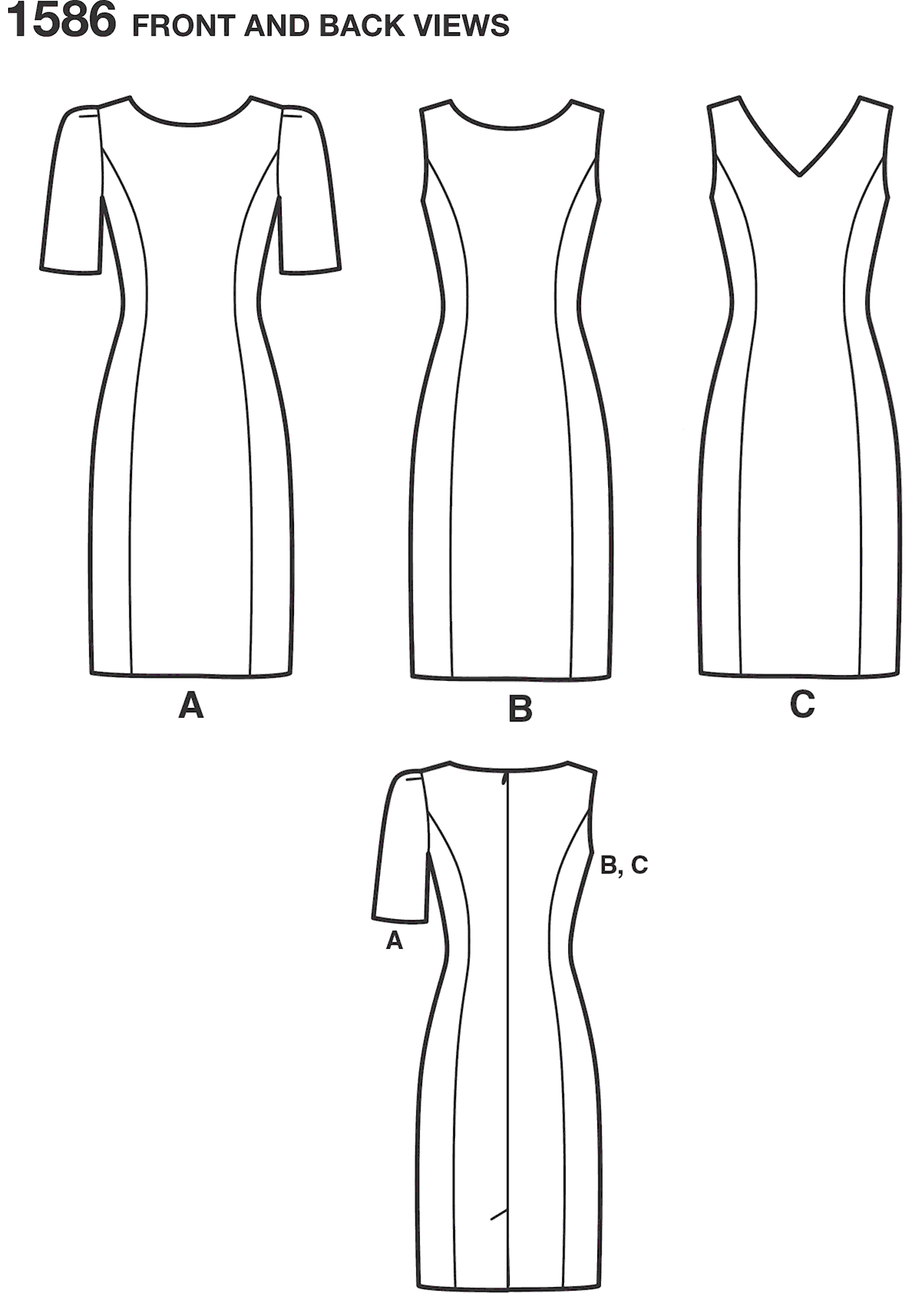 Simplicity Pattern 1586 Womens and Plus Size Amazing Fit Dress Line Art From Patternsandplains.com