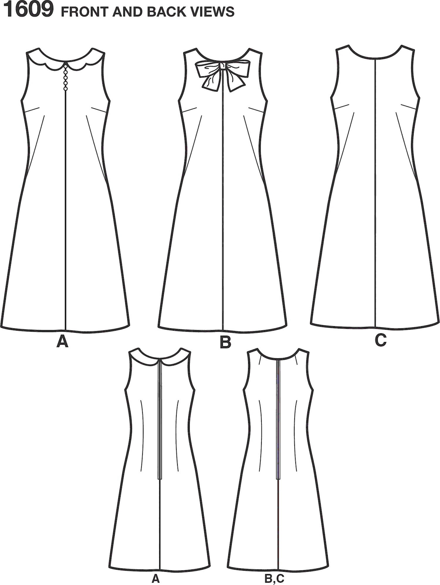 Simplicity Pattern 1609 Womens Jiffy 1960s Vintage Dress Line Art From Patternsandplains.com