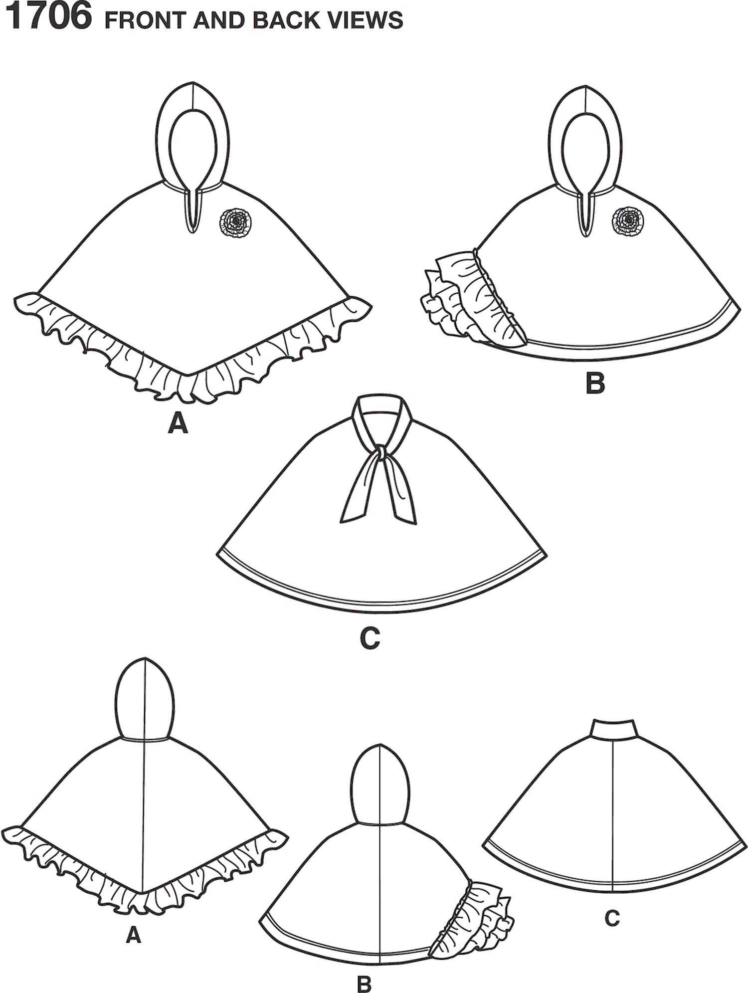 Simplicity Pattern 1706 Childs Fleece Capes Line Art From Patternsandplains.com