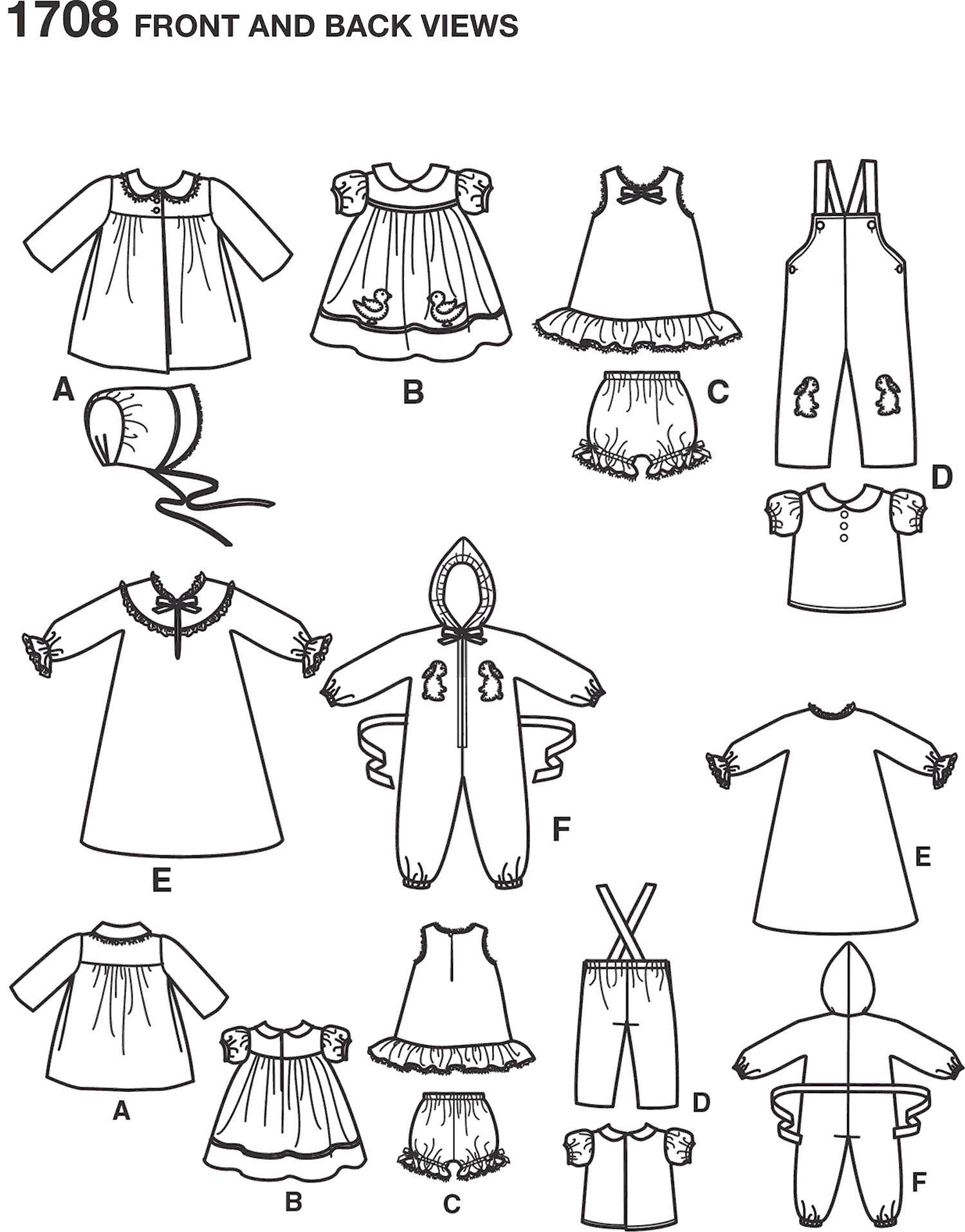 Simplicity Pattern 1708 15 Baby Doll Clothes Line Art From Patternsandplains.com