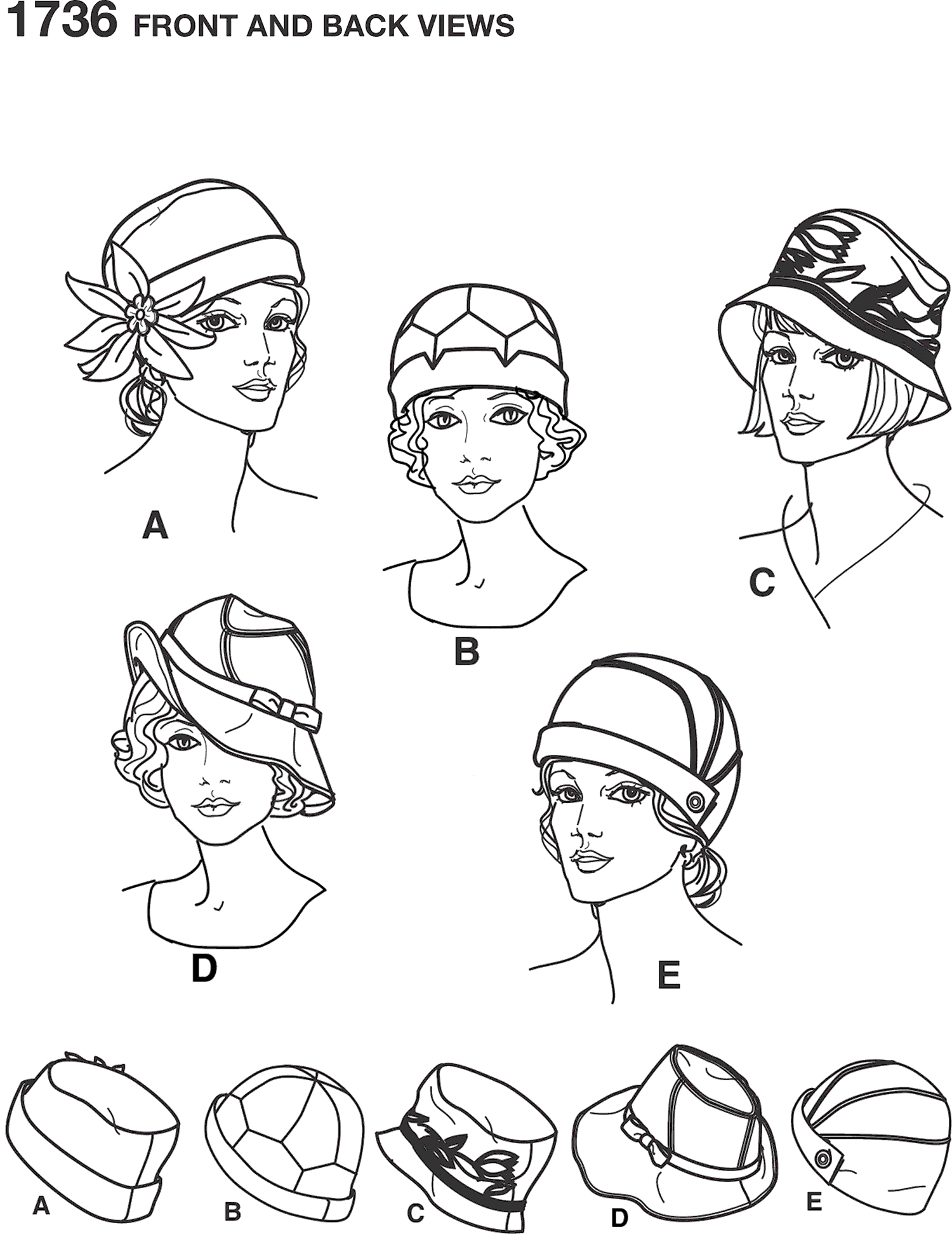 Simplicity Pattern 1736 Womens hats in three sizes Line Art From Patternsandplains.com