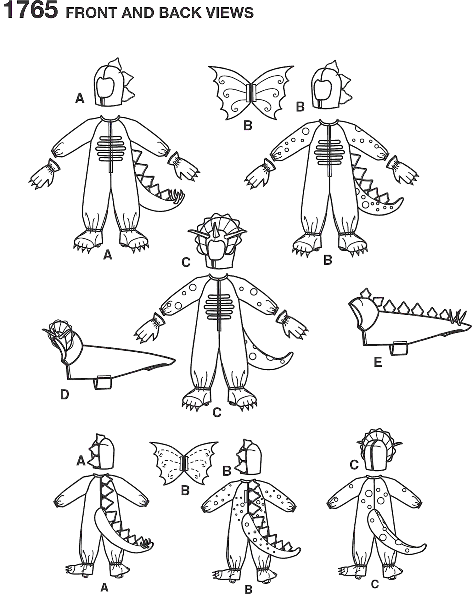 Simplicity Pattern 1765 Childs and Dog Costumes Line Art From Patternsandplains.com