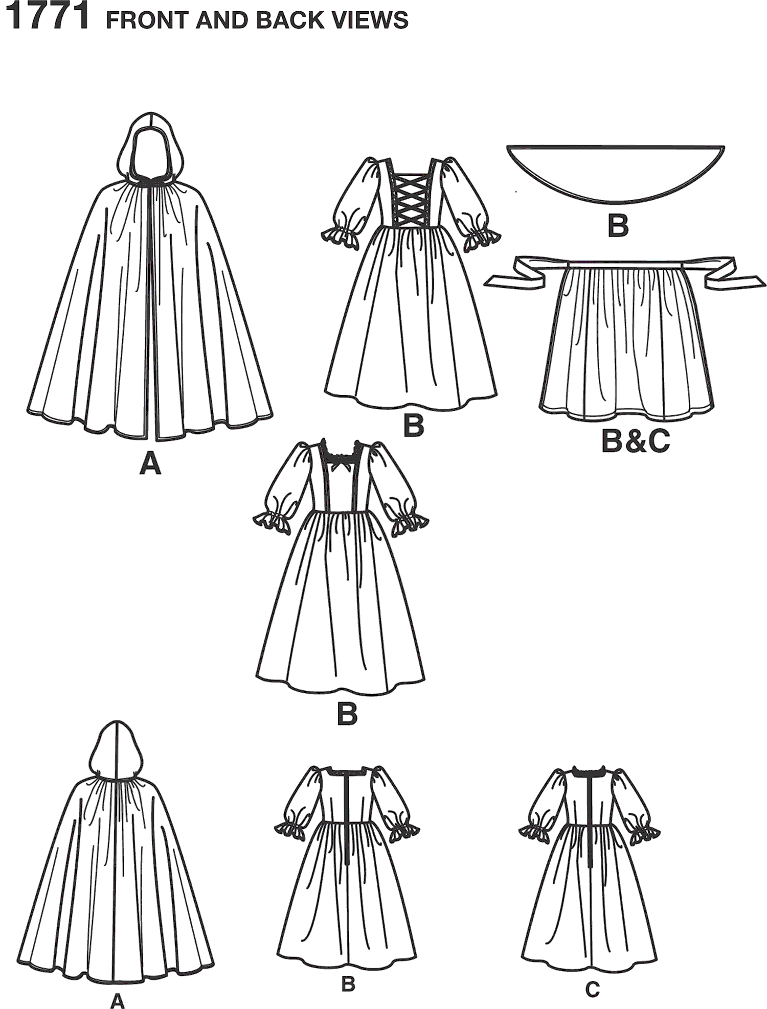 Simplicity Pattern 1771 Womens and Mens Costume Line Art From Patternsandplains.com