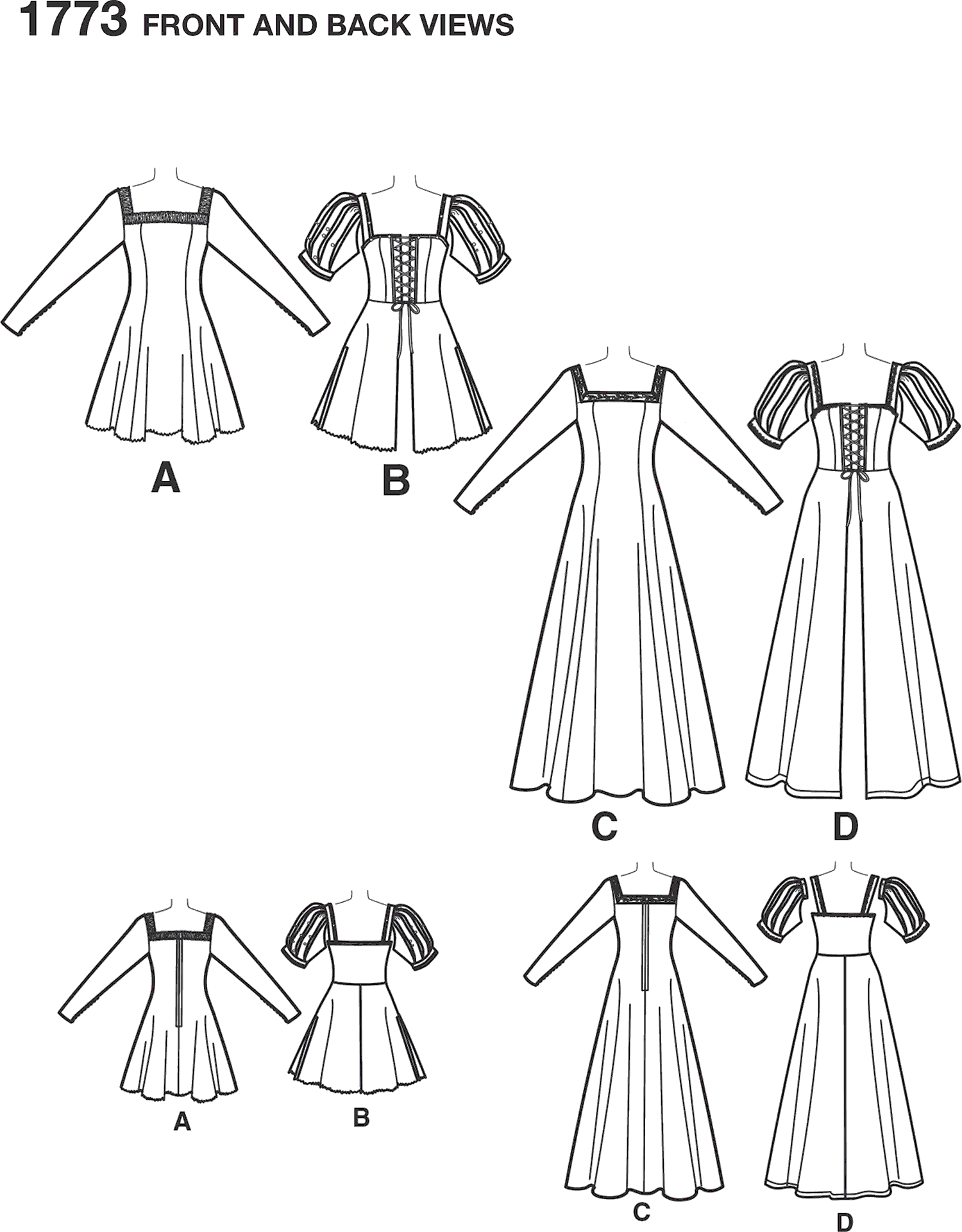 Simplicity Pattern 1773 Womens Costume Line Art From Patternsandplains.com