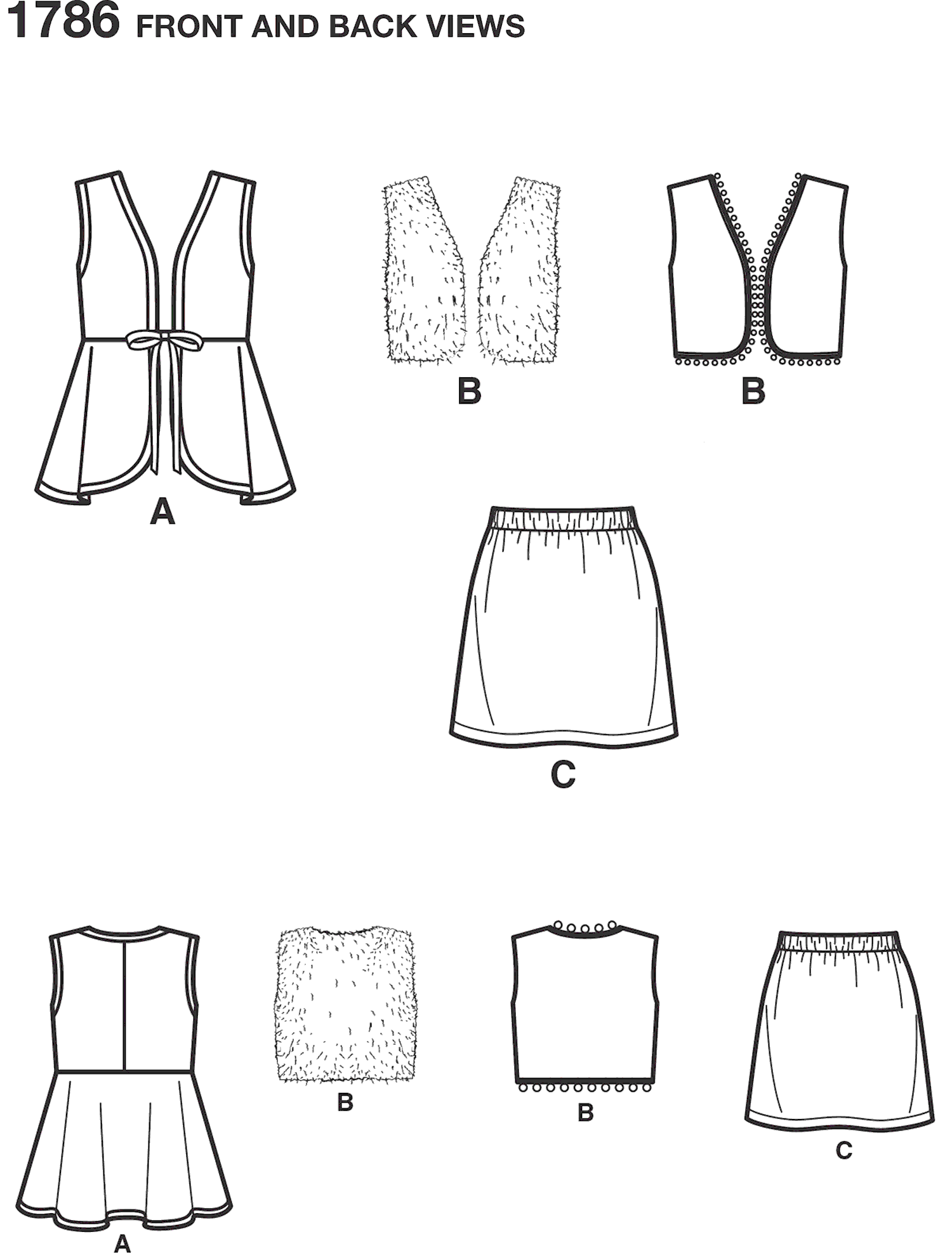 Simplicity Pattern 1786 Learn to Sew Childs and Girls Sportswear Line Art From Patternsandplains.com