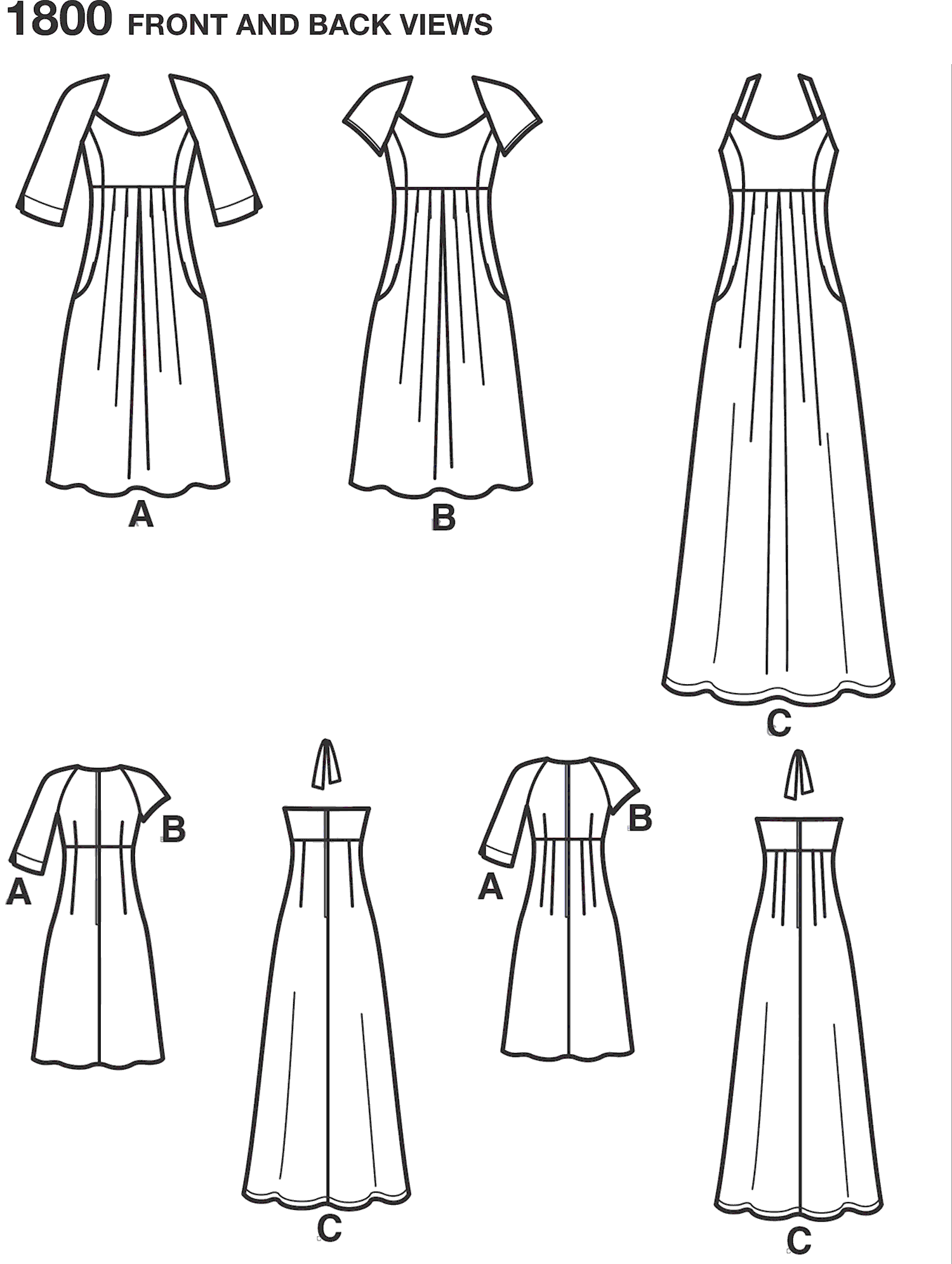 Simplicity Pattern 1800 Womens and Plus Size Amazing Fit Dresses Line Art From Patternsandplains.com