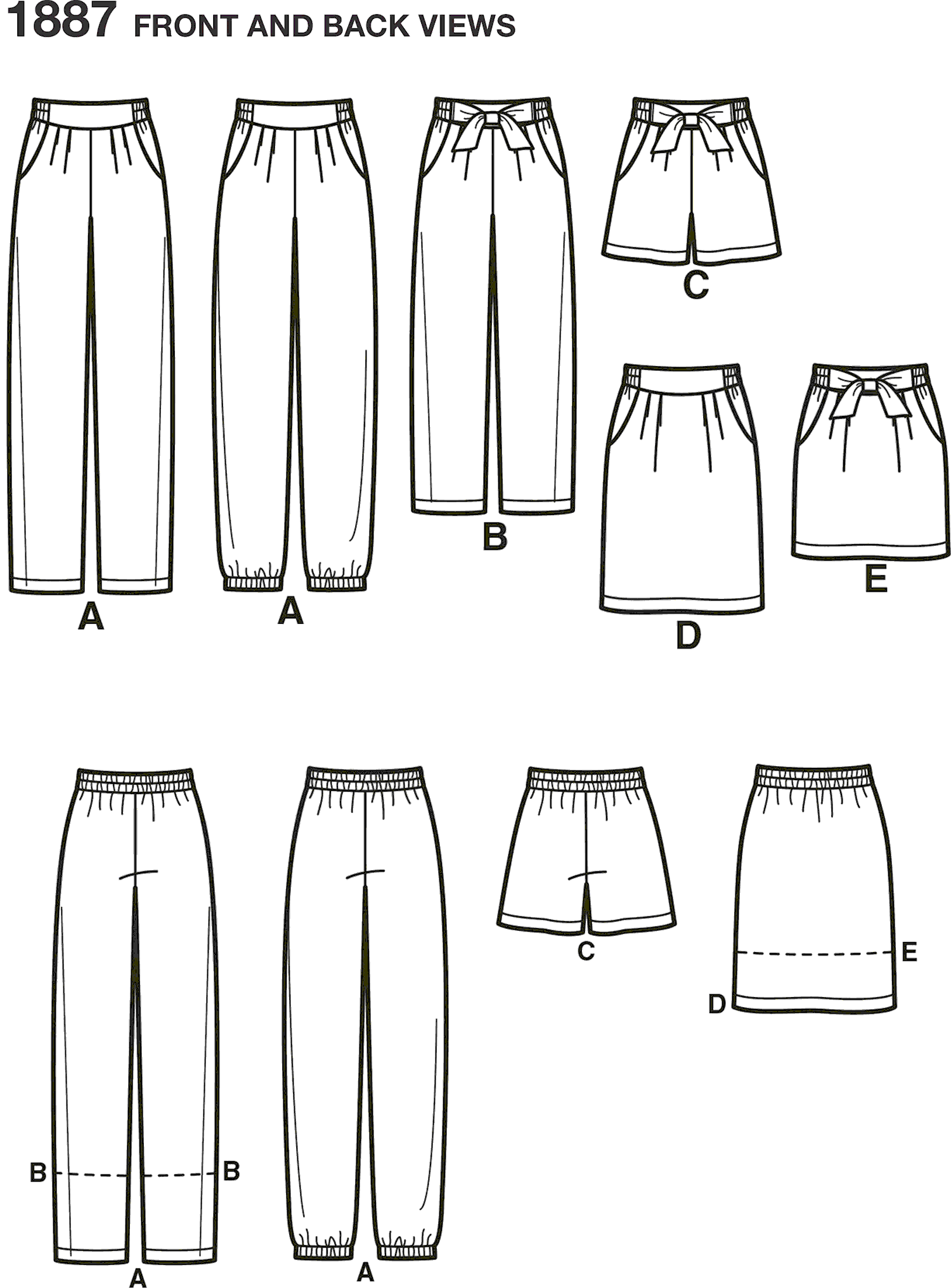 Simplicity Pattern 1887 Womens Trousers and Skirts Line Art From Patternsandplains.com
