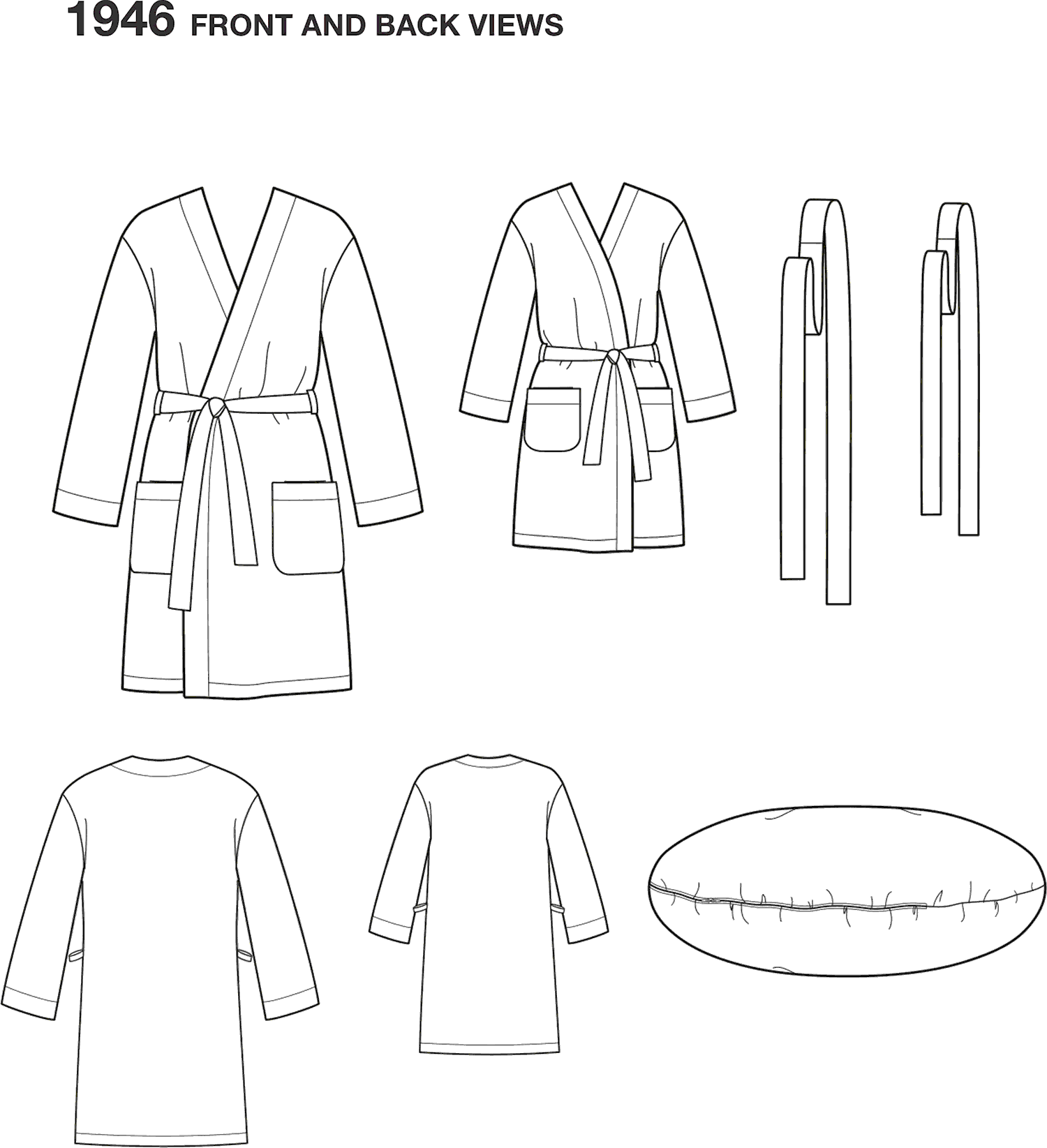 Simplicity Pattern 1946 Learn to Sew Childs Teens and Adults Robe Line Art From Patternsandplains.com