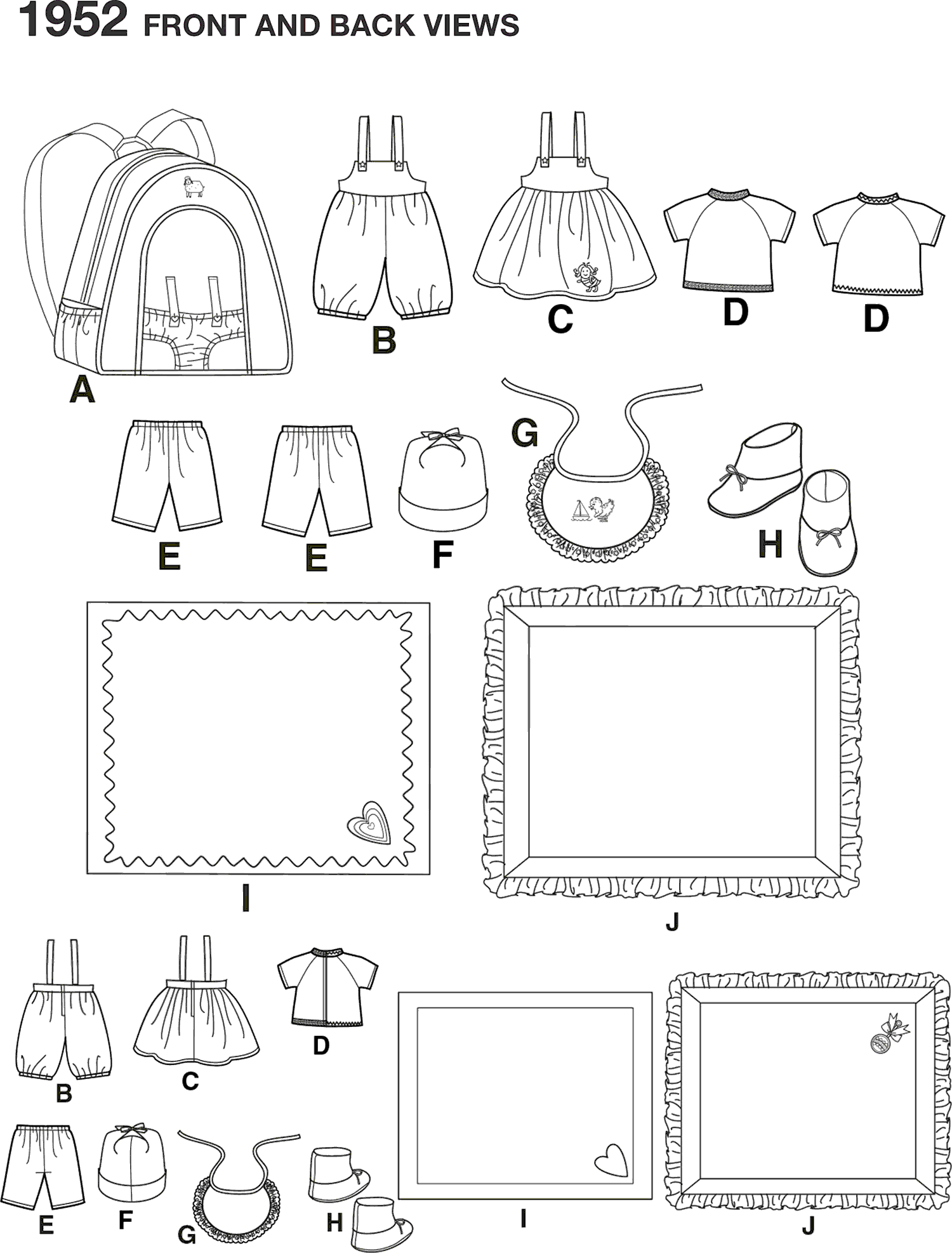 Simplicity Pattern 1952 Doll Clothes and Accessories Line Art From Patternsandplains.com