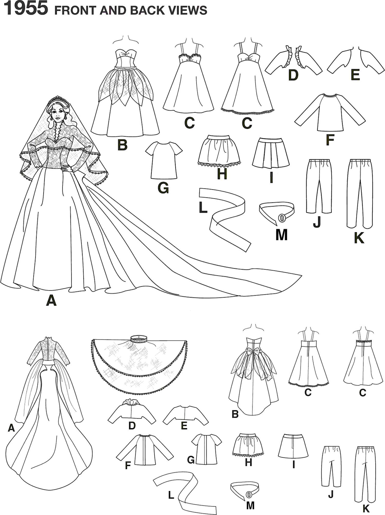 Simplicity Pattern 1955 Doll Clothes Line Art From Patternsandplains.com