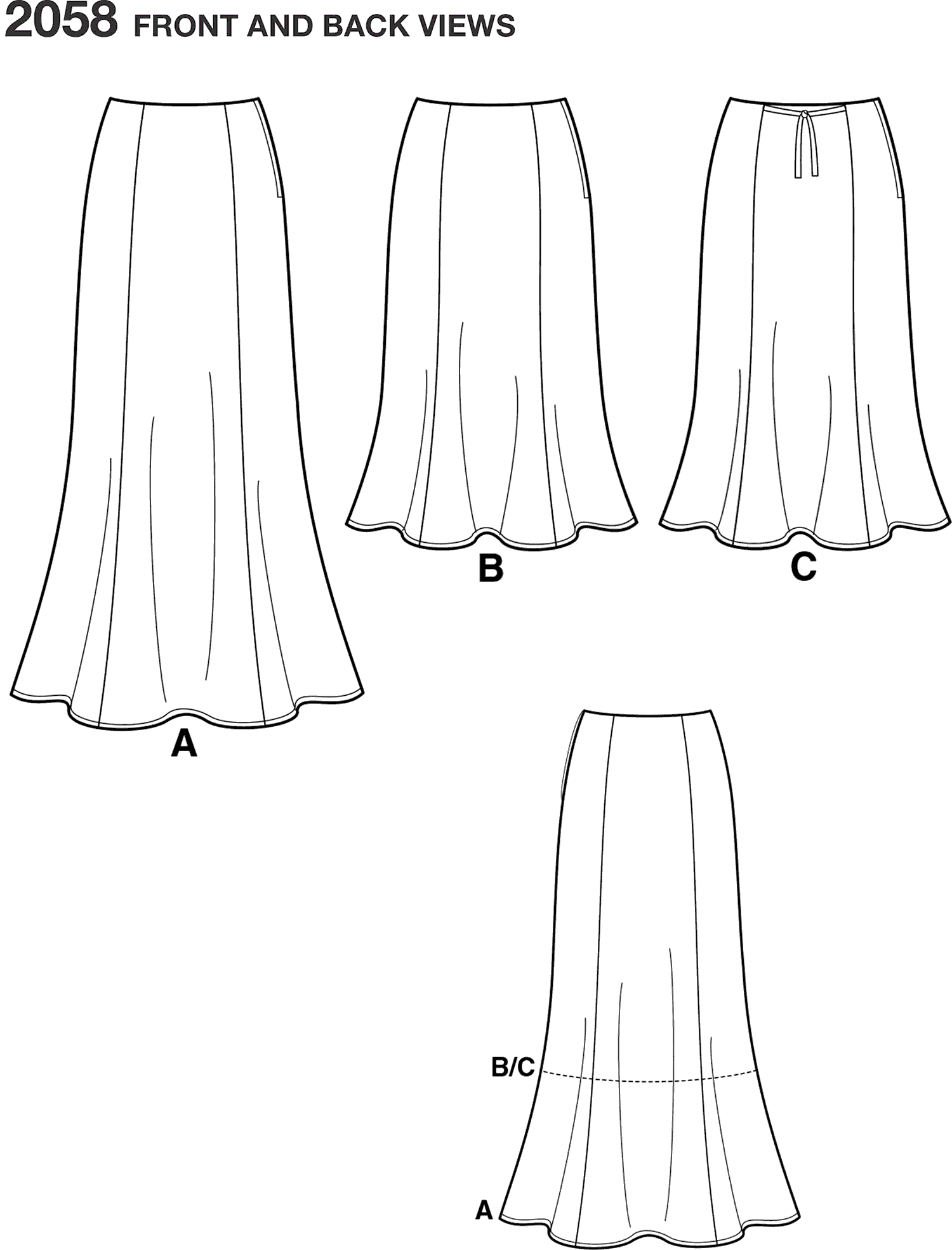 Simplicity Pattern 2058 Womens and Plus Size Amazing Fit Skirt Line Art From Patternsandplains.com
