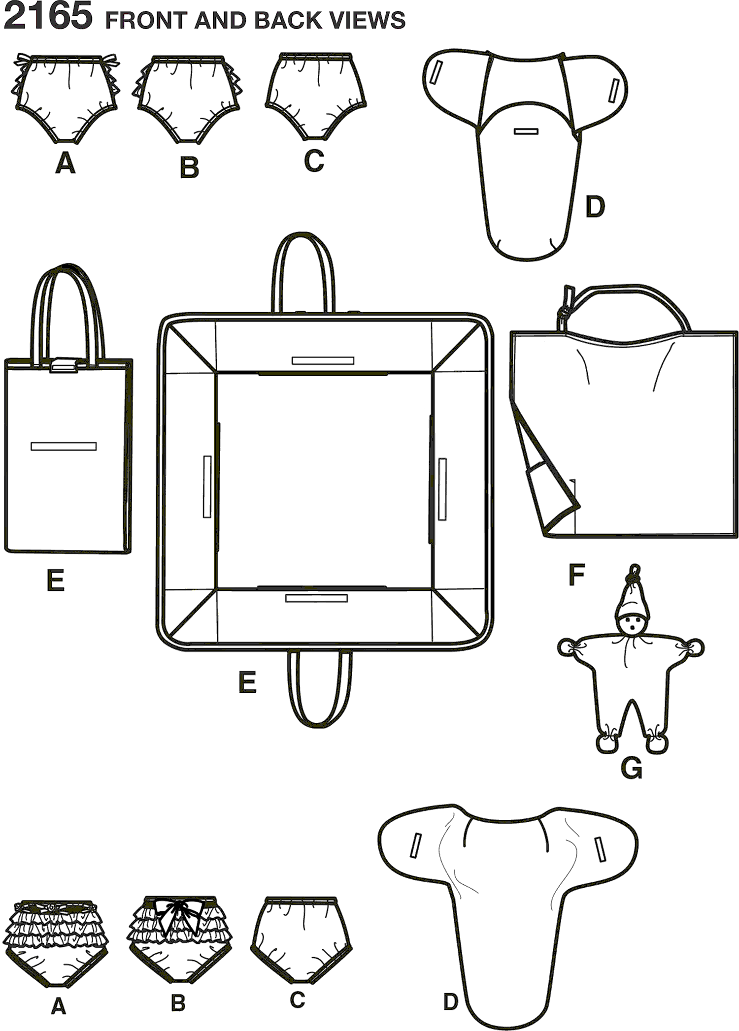 Simplicity Pattern 2165 Baby Accessories Line Art From Patternsandplains.com