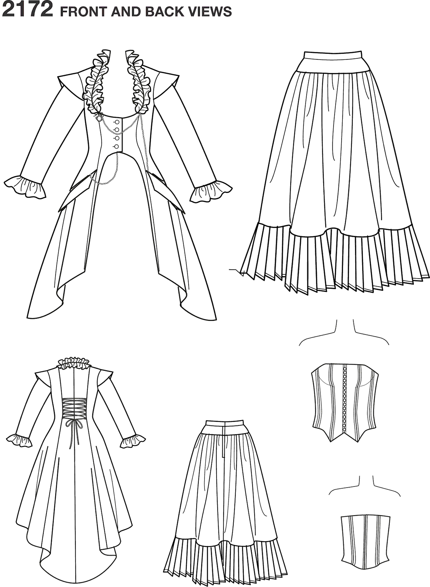 Simplicity Pattern 2172 Womens Costume Line Art From Patternsandplains.com