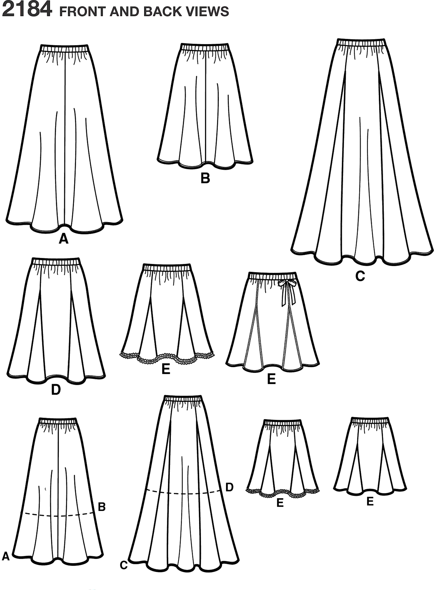Simplicity Pattern 2184 Womens Skirts Line Art From Patternsandplains.com